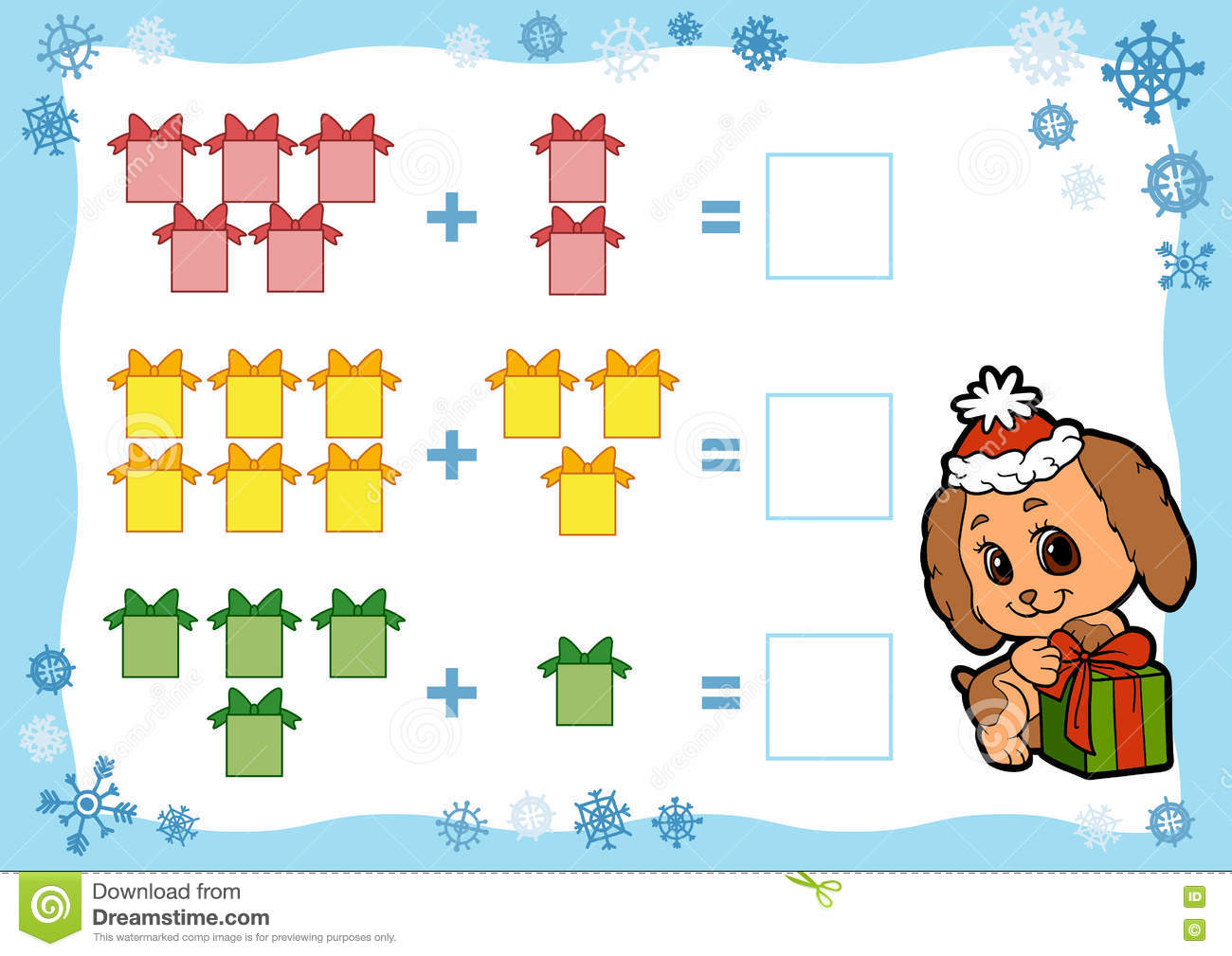 Counting Game For Children Addition Worksheets Christmas Ts Stock Vector