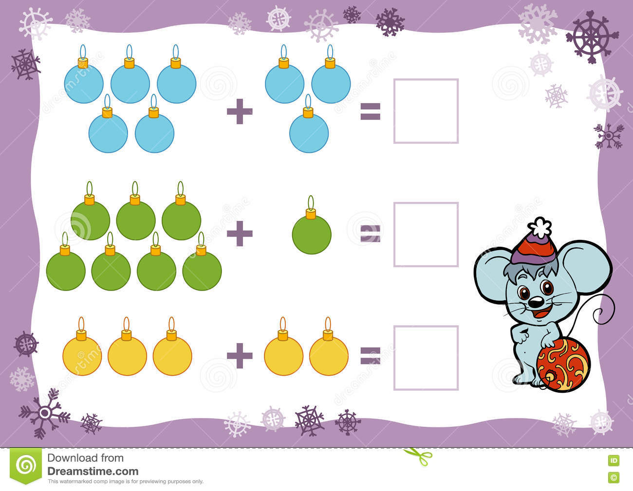 Counting Game For Children Addition Worksheets Christmas Toys Stock Vector