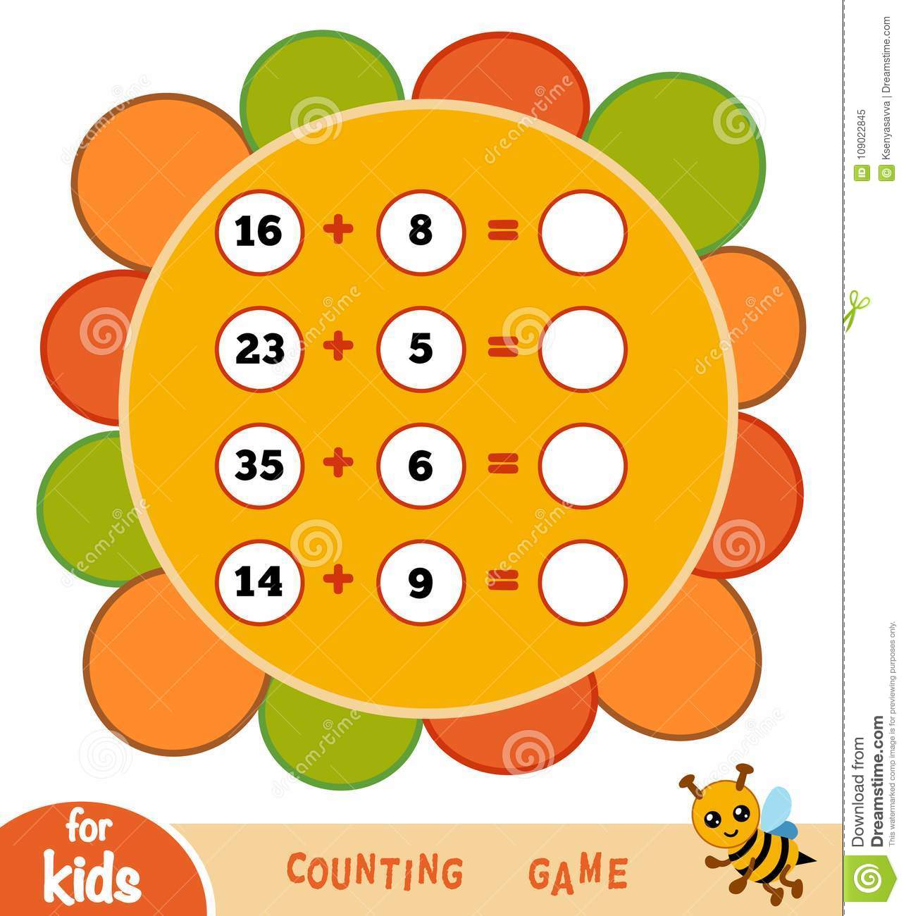Counting Game For Children Addition Worksheets Stock