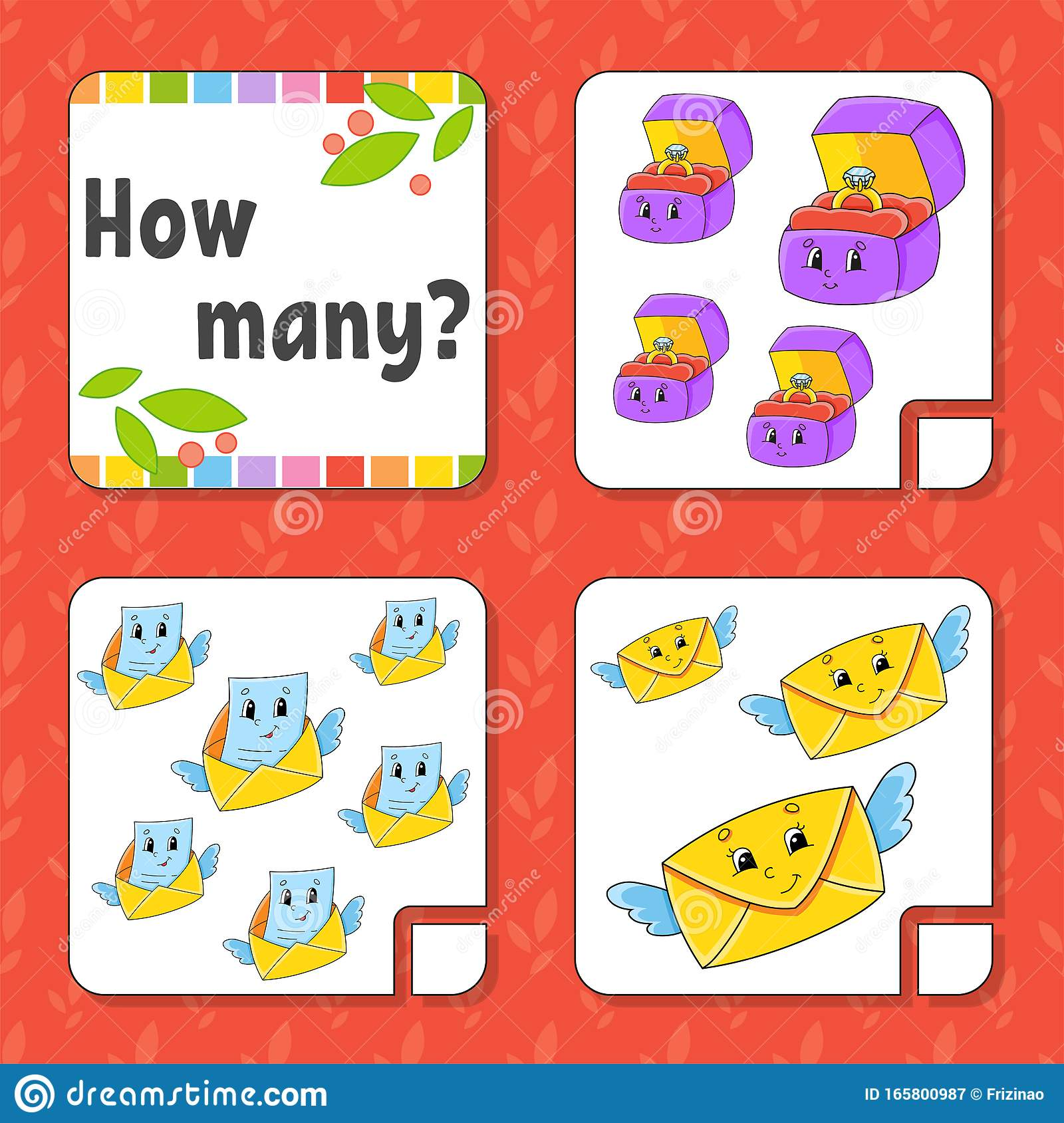 Counting Game For Children Happy Characters Learning