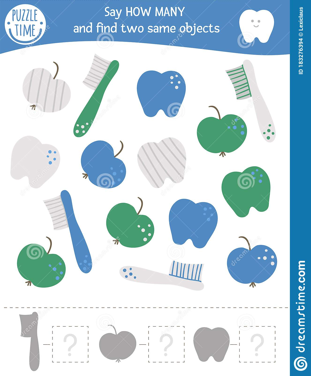 Counting Game With Dental Care Symbols Mouth Hygiene Math