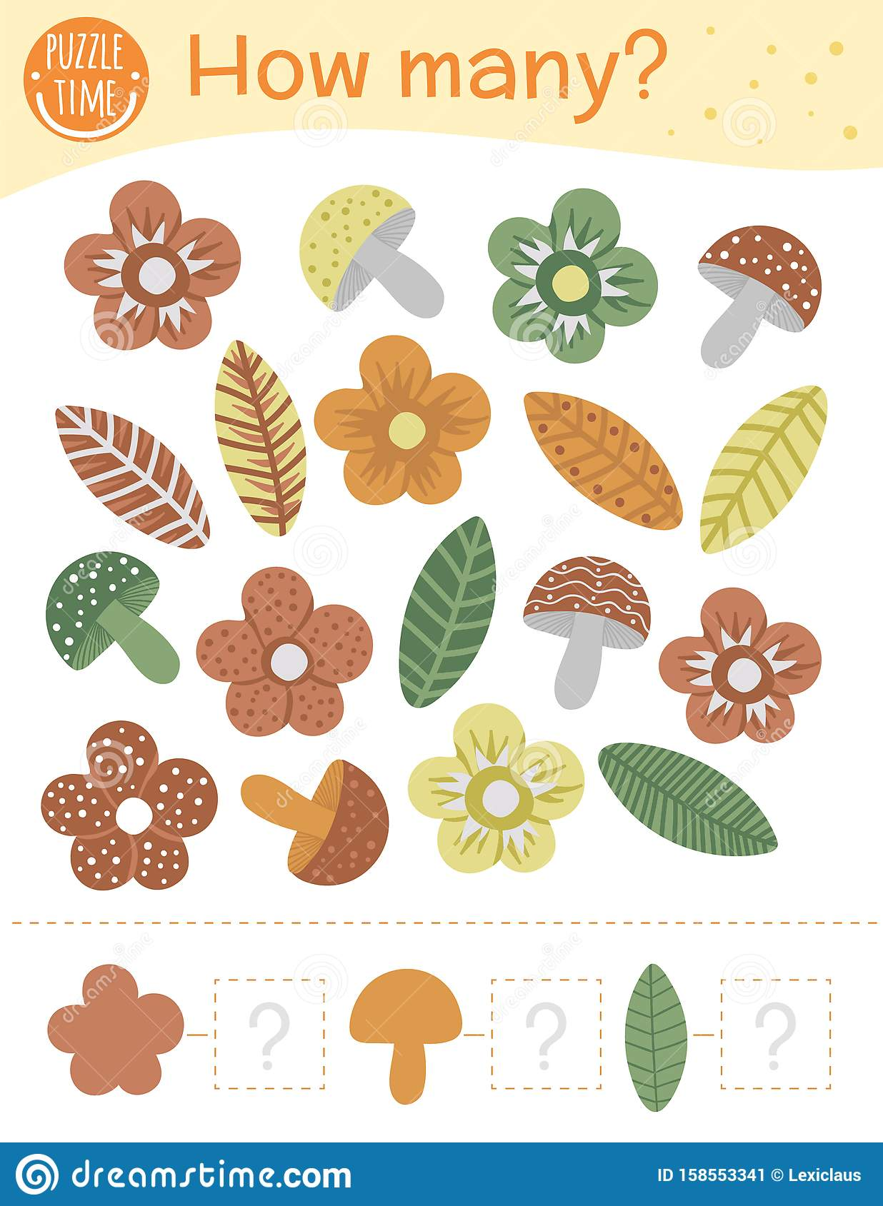 Counting Game With Flowers Leaves Mushrooms Stock