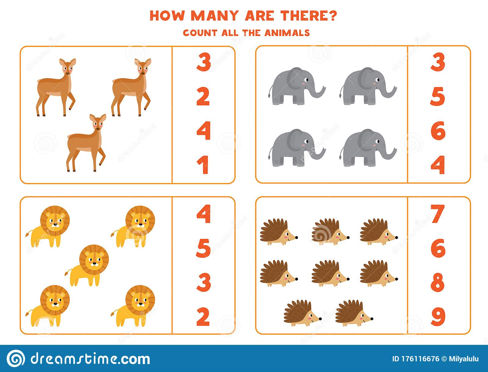 Counting Game For Kids How Many Wild Animals Are There