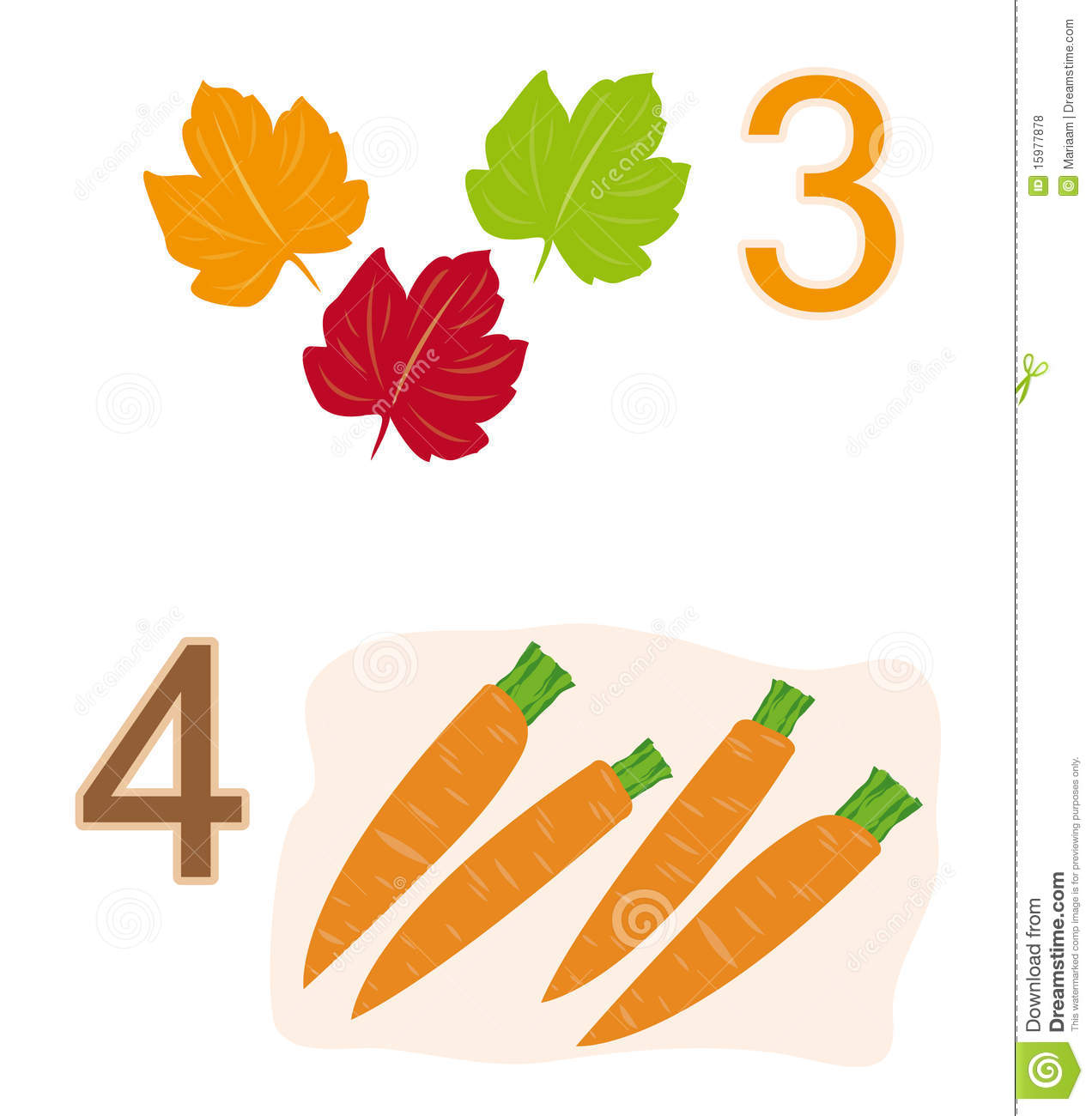 number three with three leaves and number four with four carrots