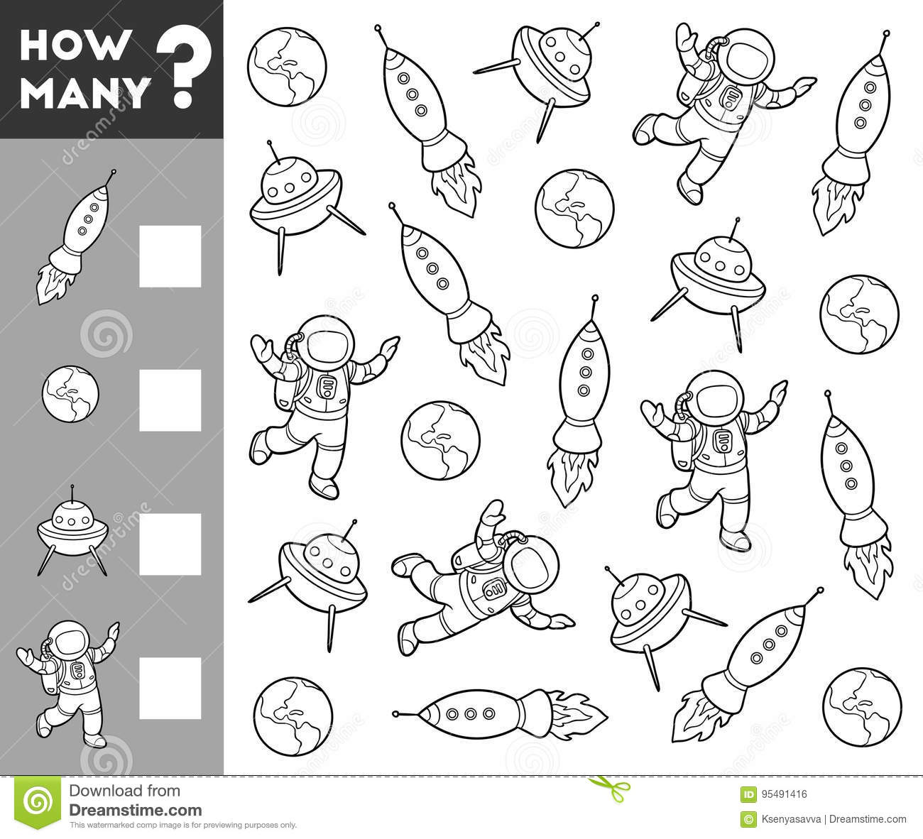 Counting Game For Preschool Children Space Objects Stock