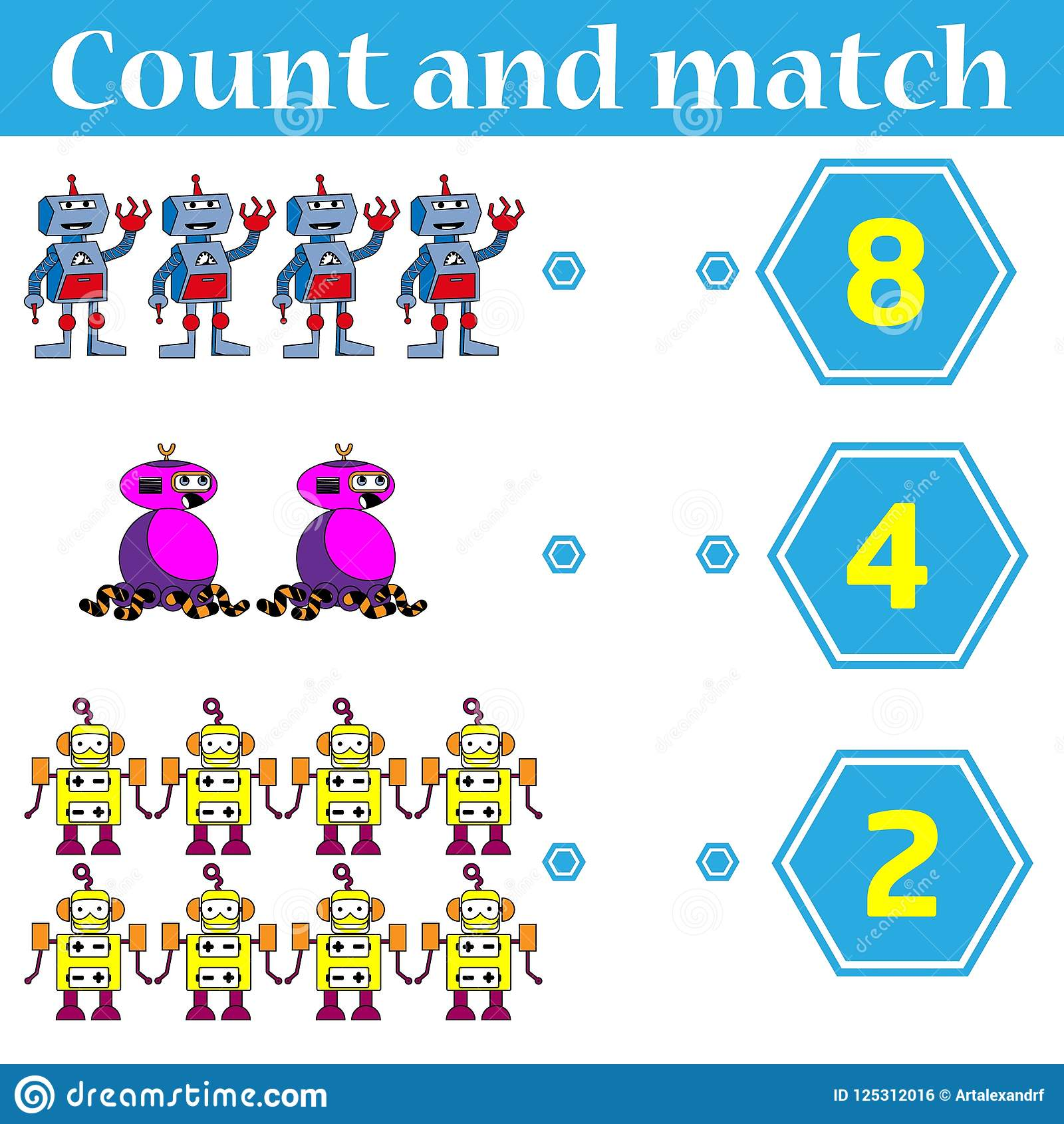 Counting Game For Preschool Kids Educational And Mathematical Game For Children Count And