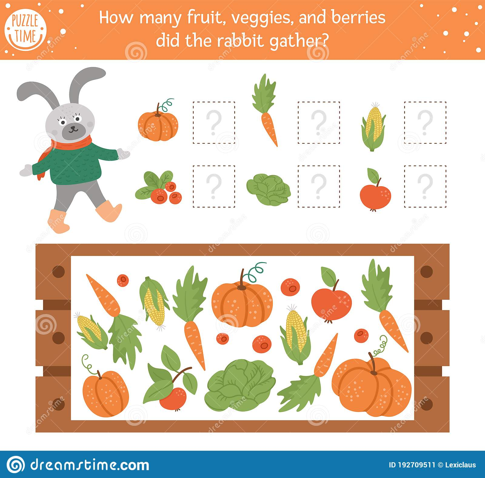 Counting Game With Vegetables Wooden Case And Rabbit