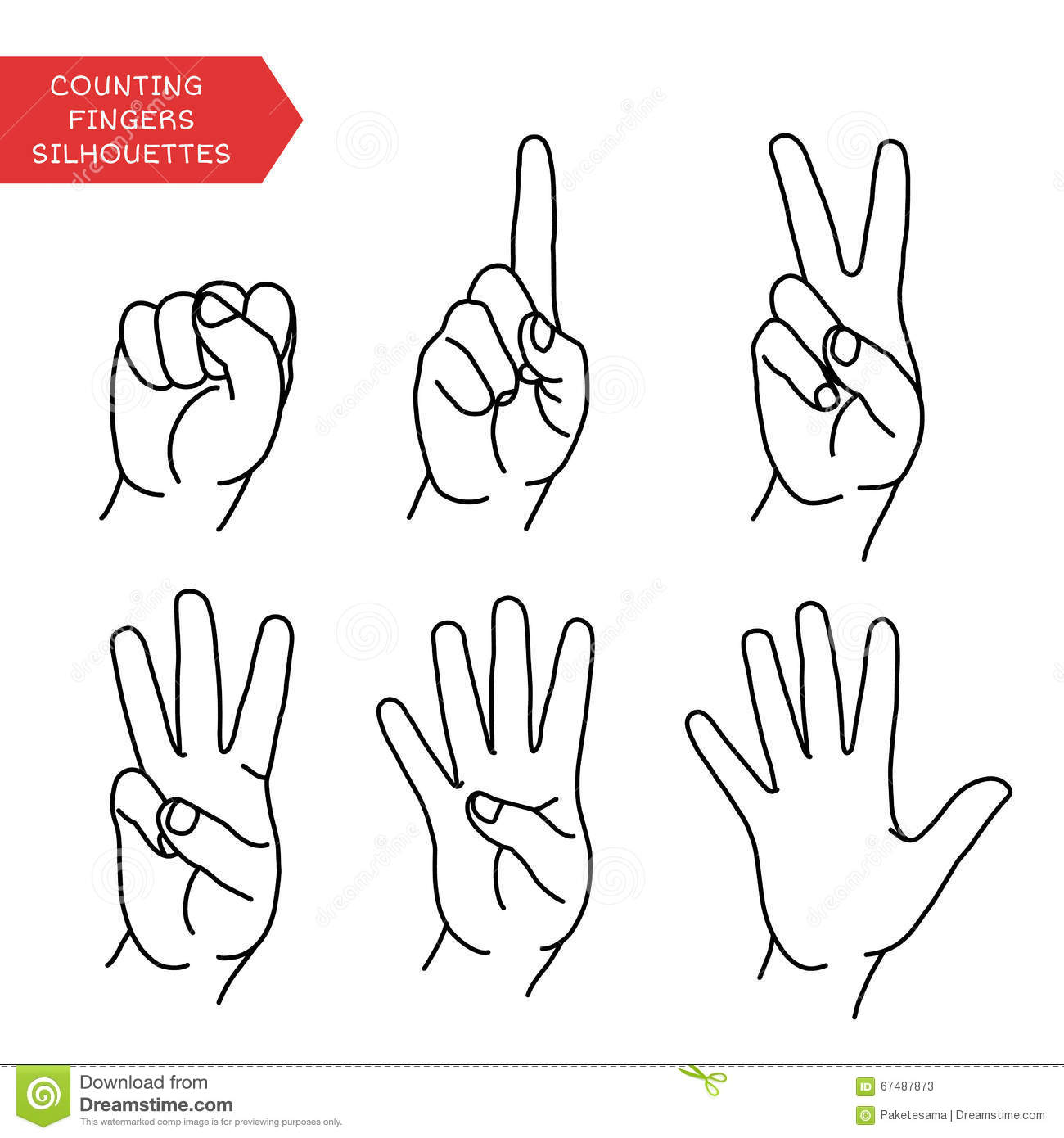 Counting Hands Set Stock Vector Illustration Of Cartoon