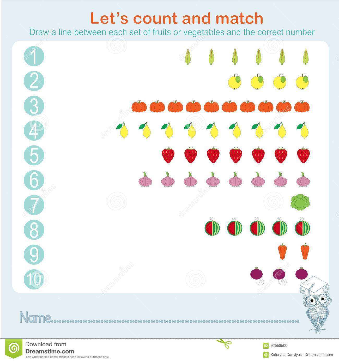 Counting And Matching Educational Games Kids Kids Activity Sheet Learning Math Exercises