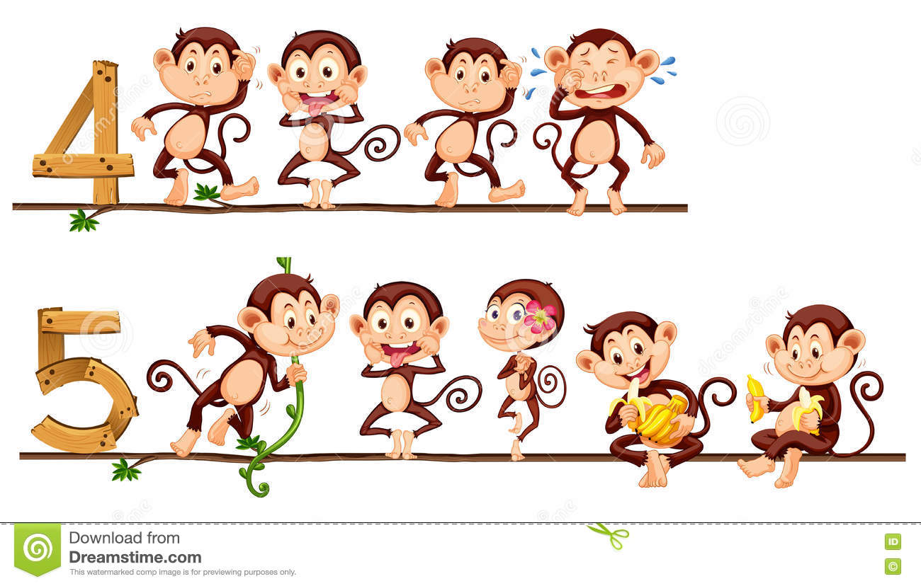 Counting Number Four And Five With Monkeys Stock Vector