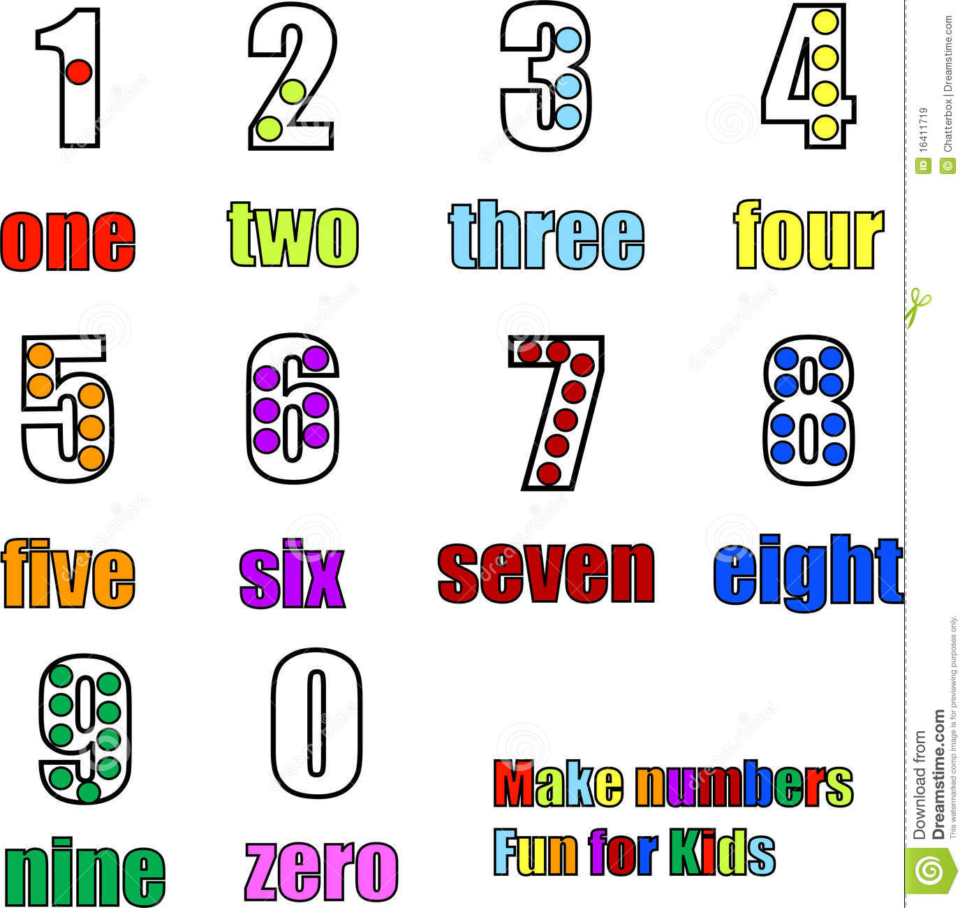 Counting Numbers From 0 To 9 One To Nine Stock Vector