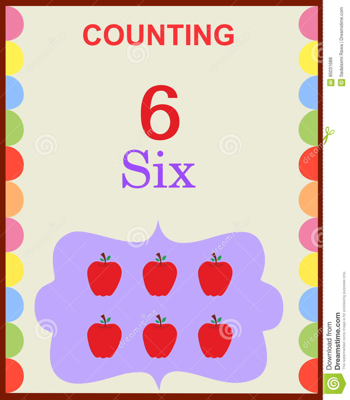 Counting Numbers 6 Stock Vector Illustration Of Math