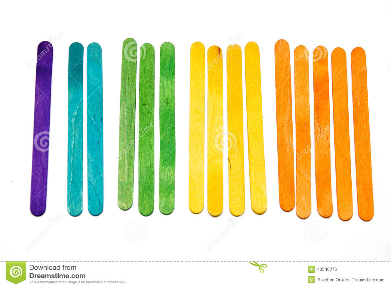 Counting With Popsicle Sticks Stock Photo