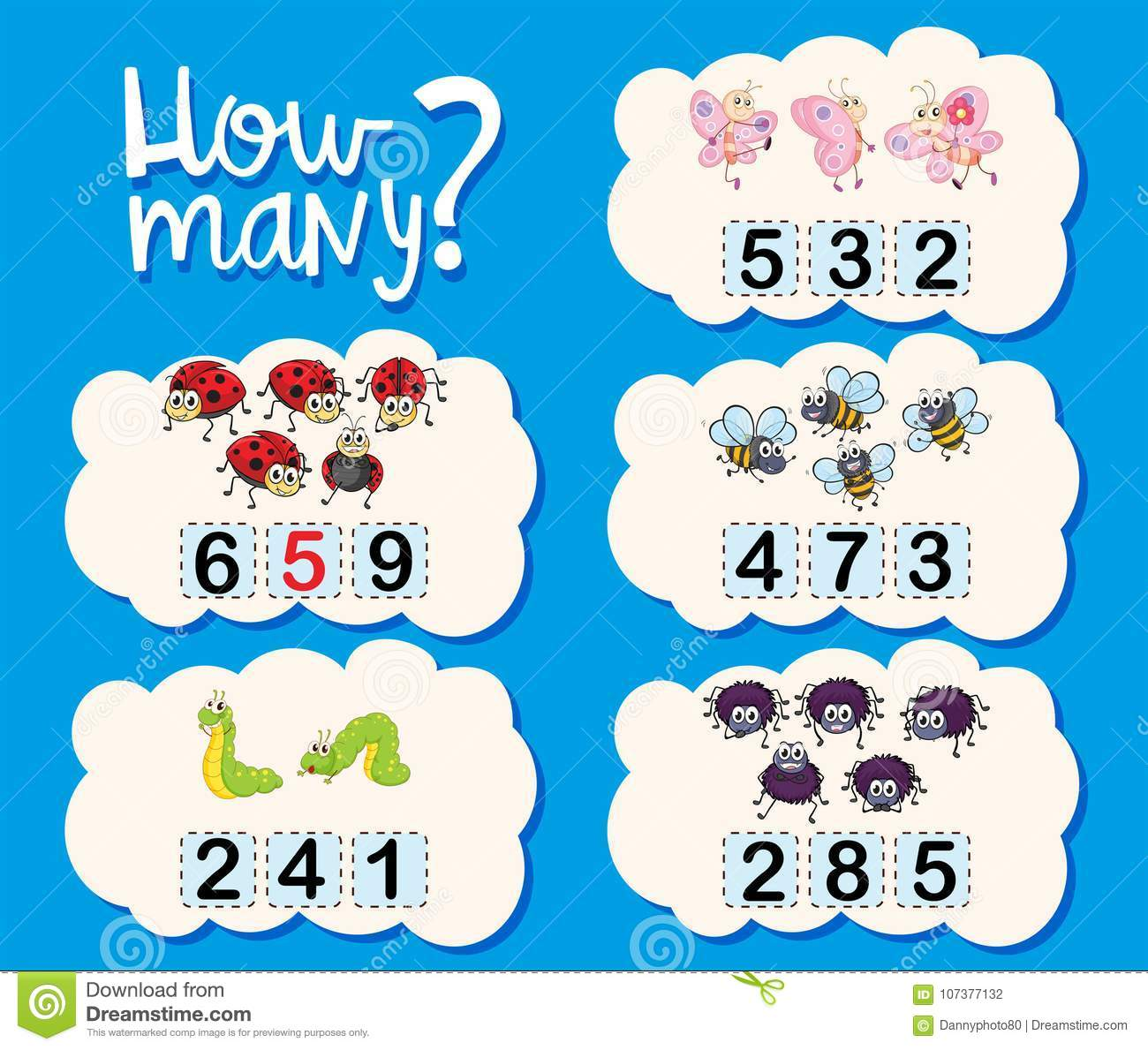 Counting Worksheet With Numbers And Pictures Stock Vector