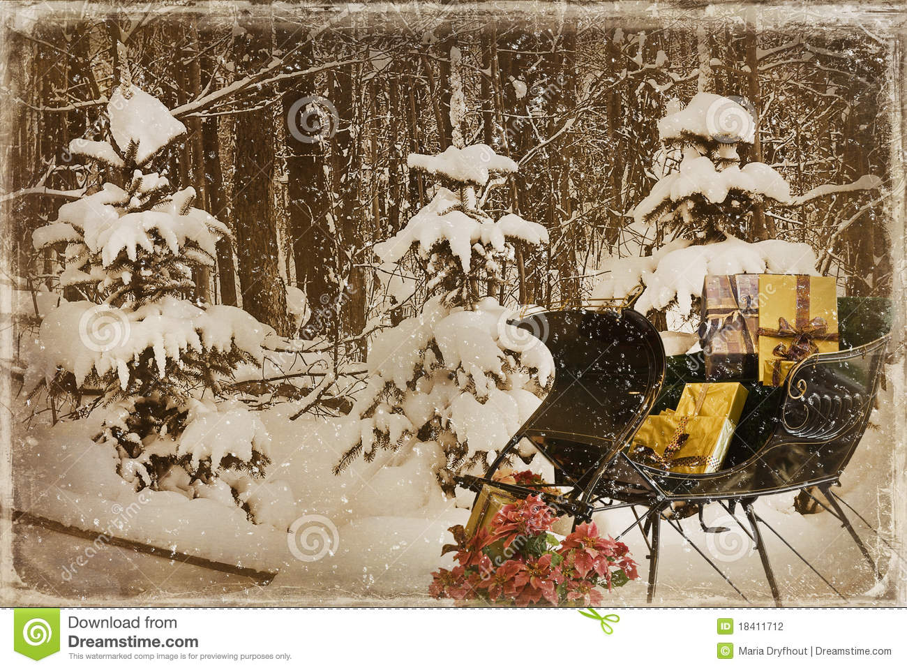 Vintage Sleigh With Christmas Presents Stock Photography