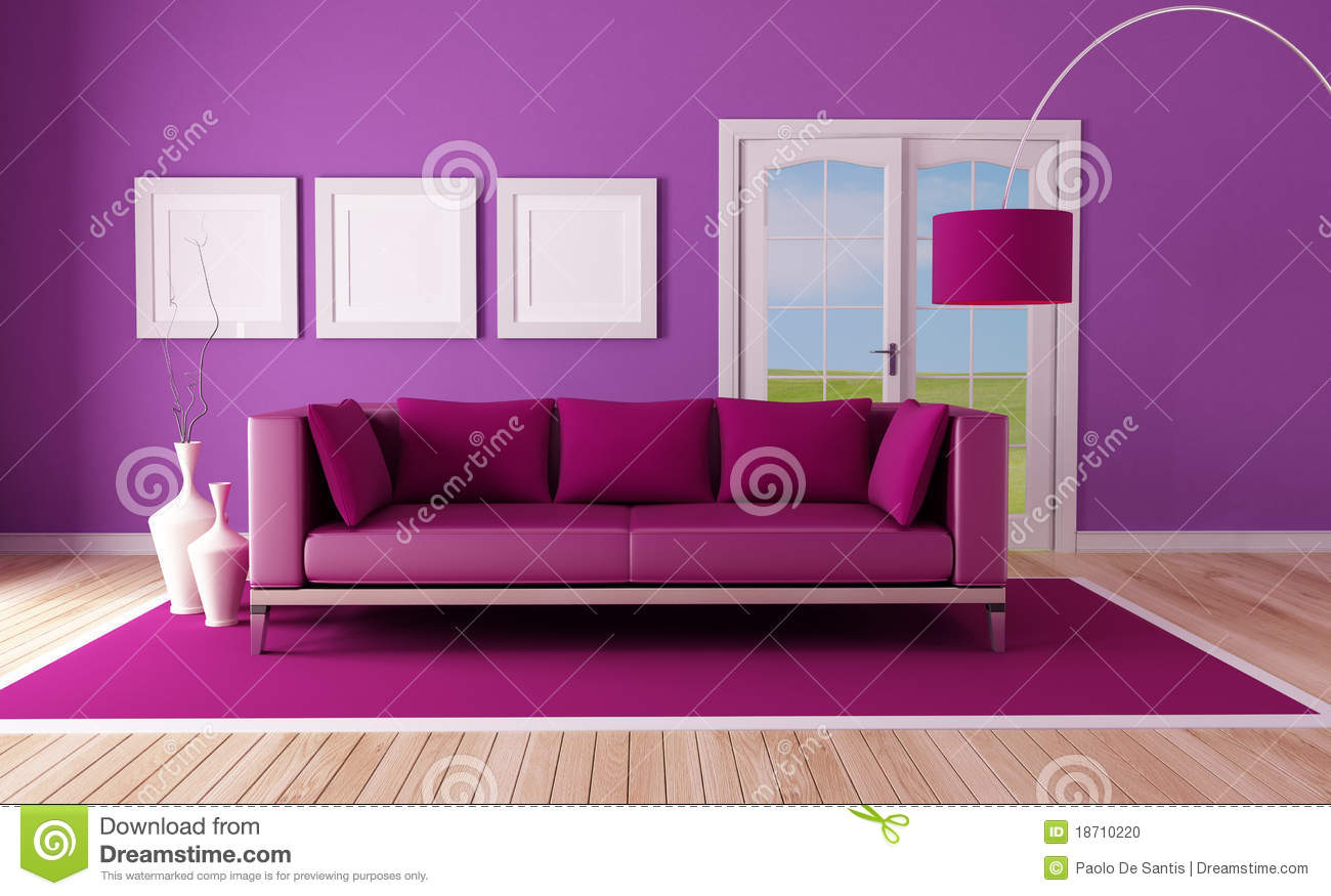Country Purple Living Room Stock Photo Image 18710220