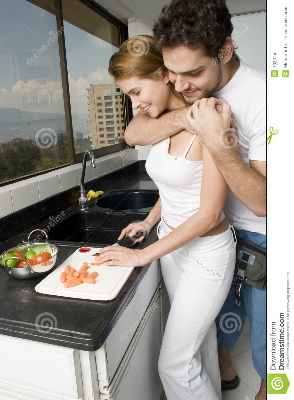 Couple Cooking Stock Photo Image Of Home Latin Food