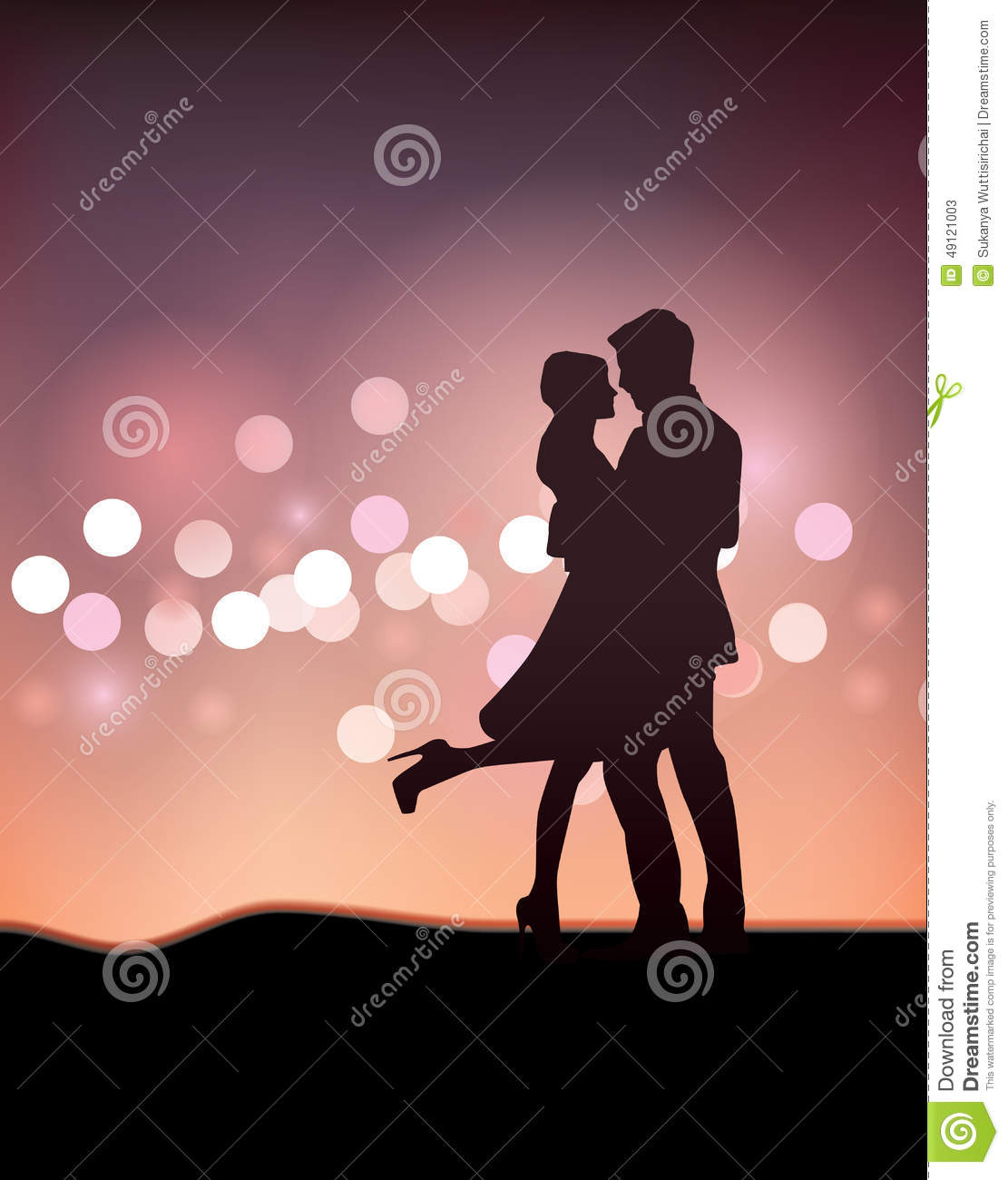 Couple Dancing Silhouette Illustration Stock Vector