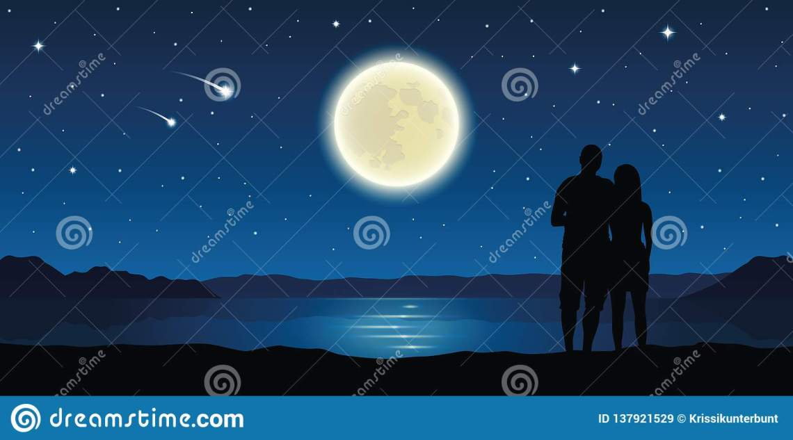 Download Couple In Love At The Lake With Full Moon And Falling ...