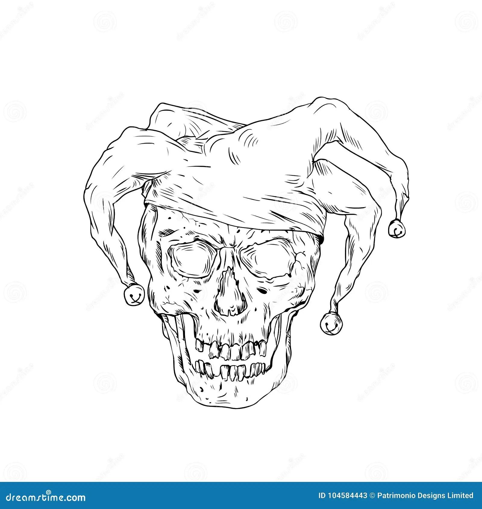 Court Jester Skull Drawing Stock Illustration