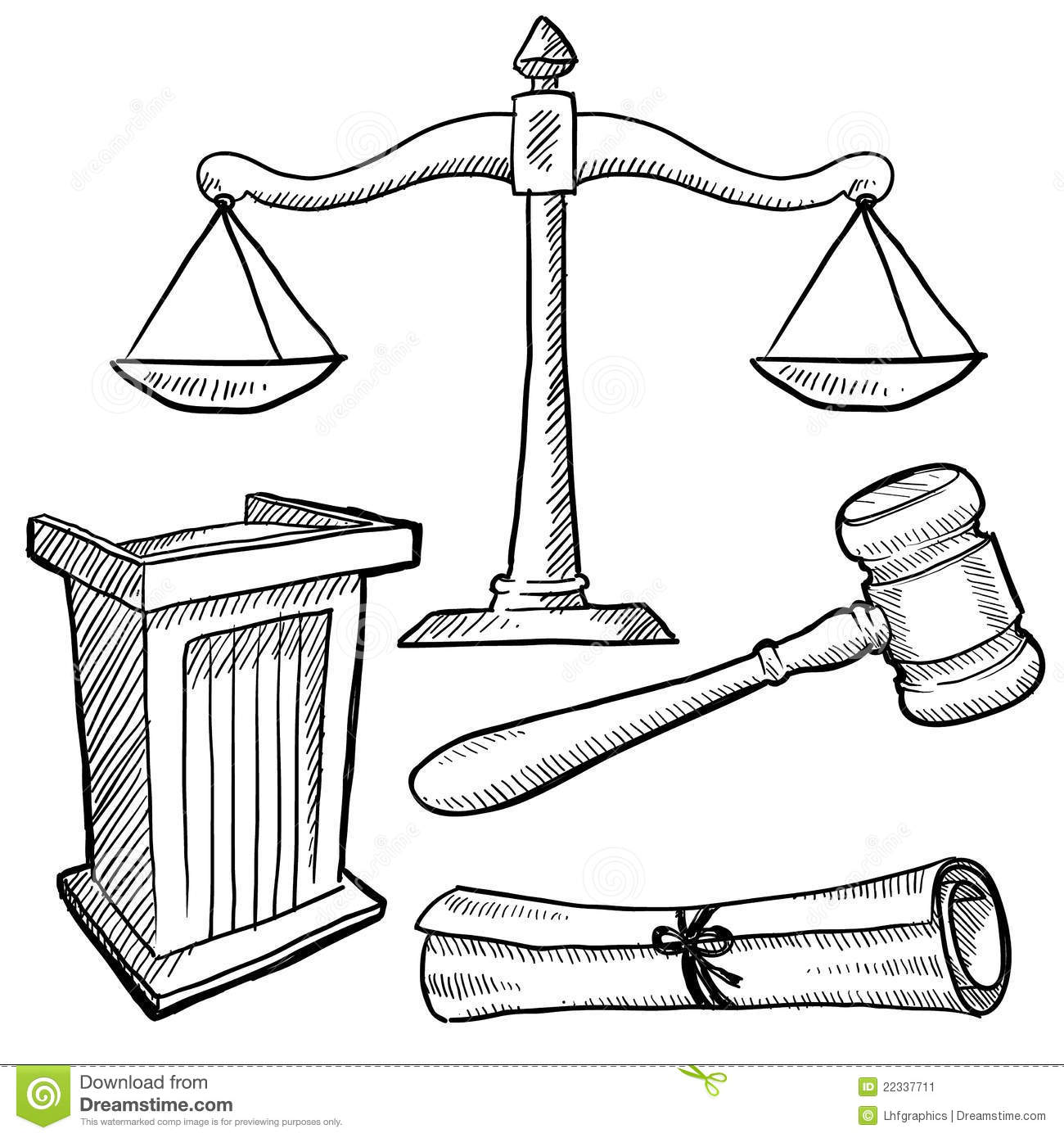 Courtroom Objects Sketch Stock Image