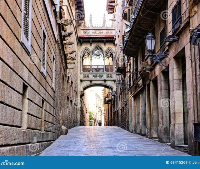 Covered Bridge In The Gothic Quarter Of Barcelona Spain