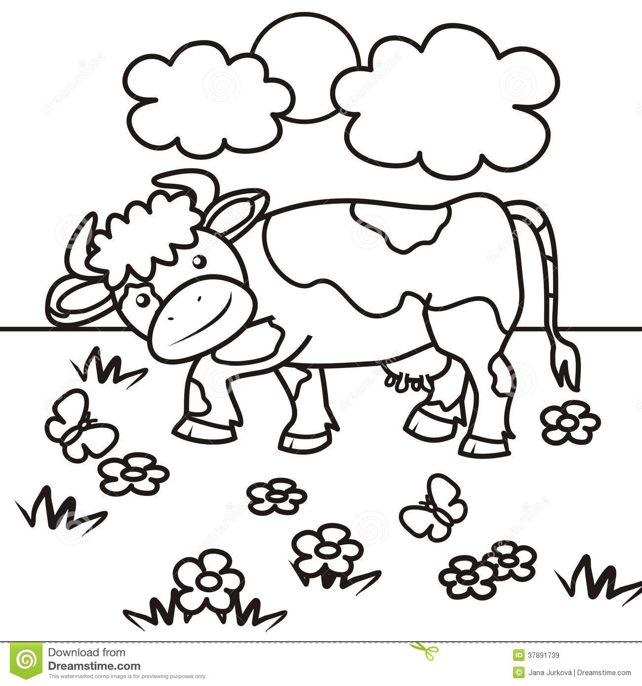Cow Coloring Book Stock Vector Illustration Of Baby