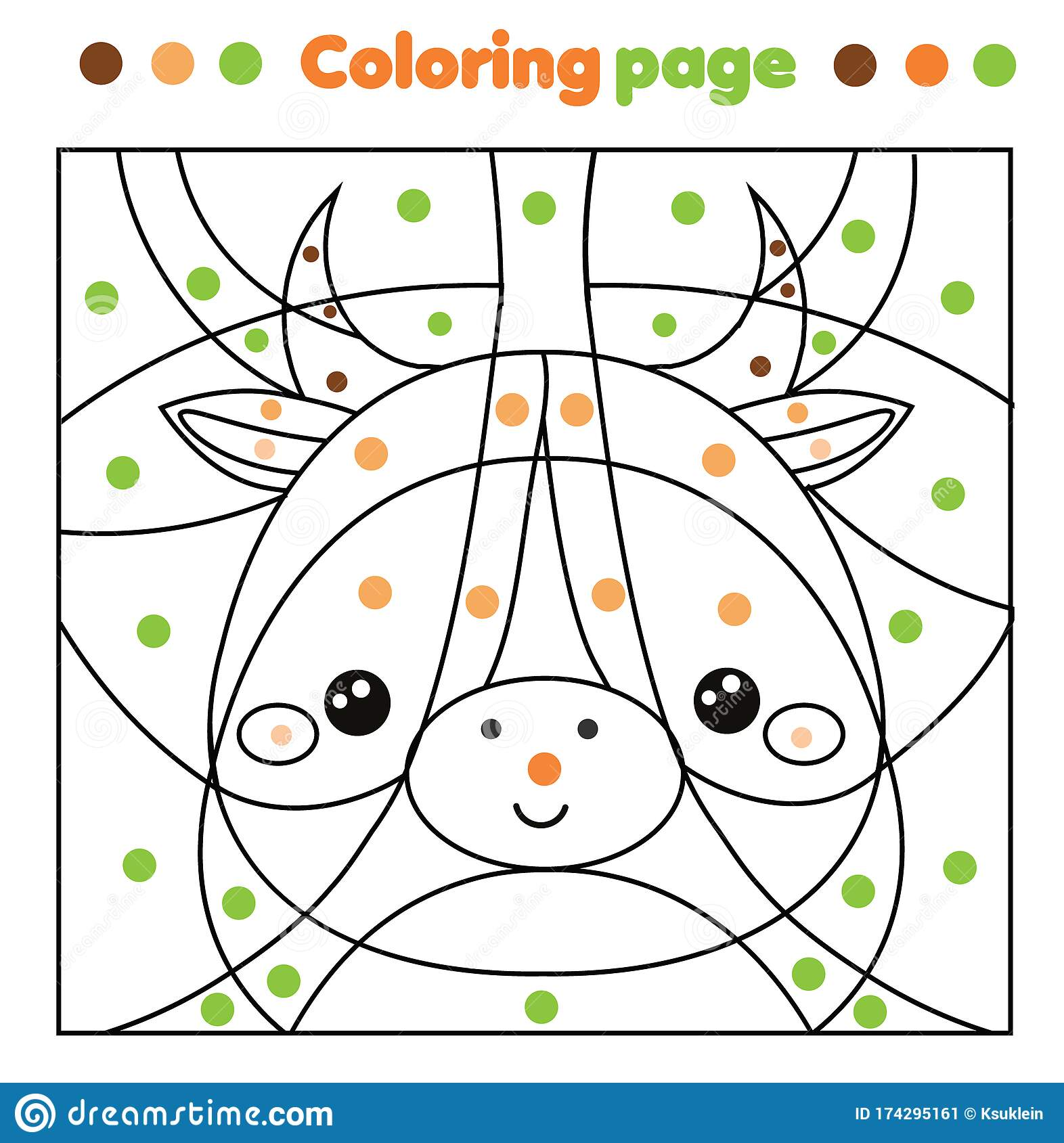 Cow Coloring Page Color By Dots Printable Activity