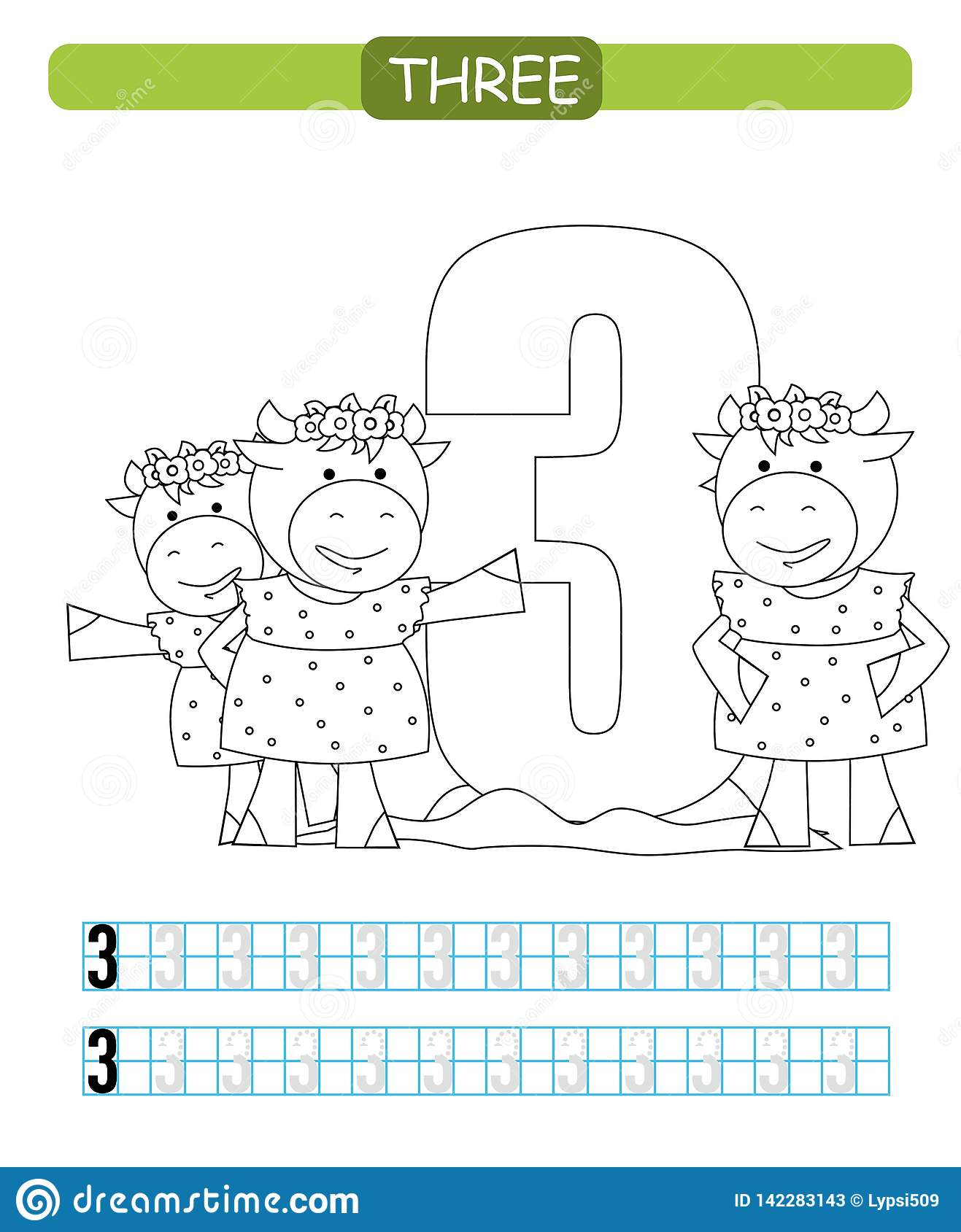 Three Learning Number 3 Coloring Printable Worksheet For
