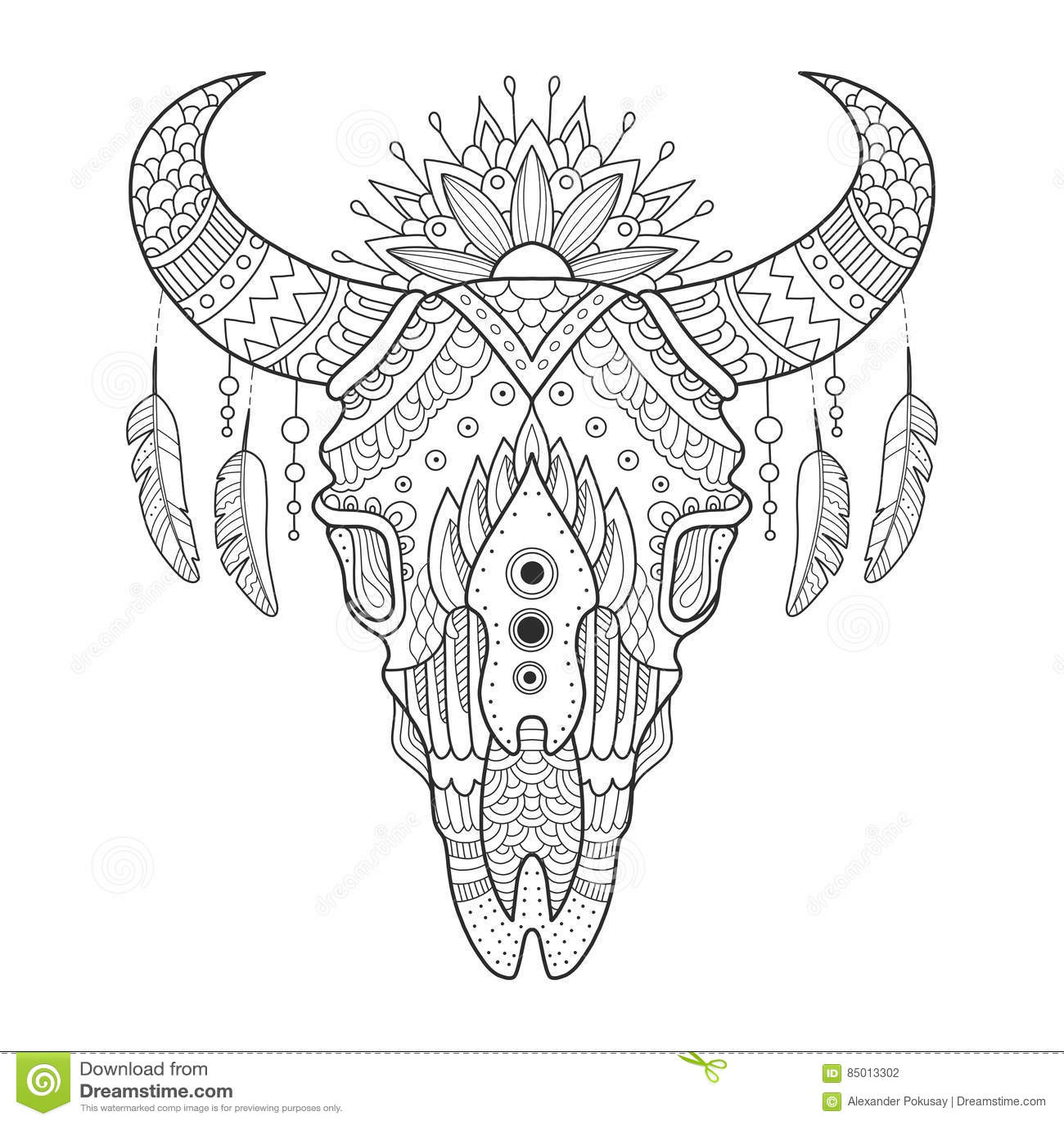 Cow Skull Coloring Book Vector Illustration Stock Vector