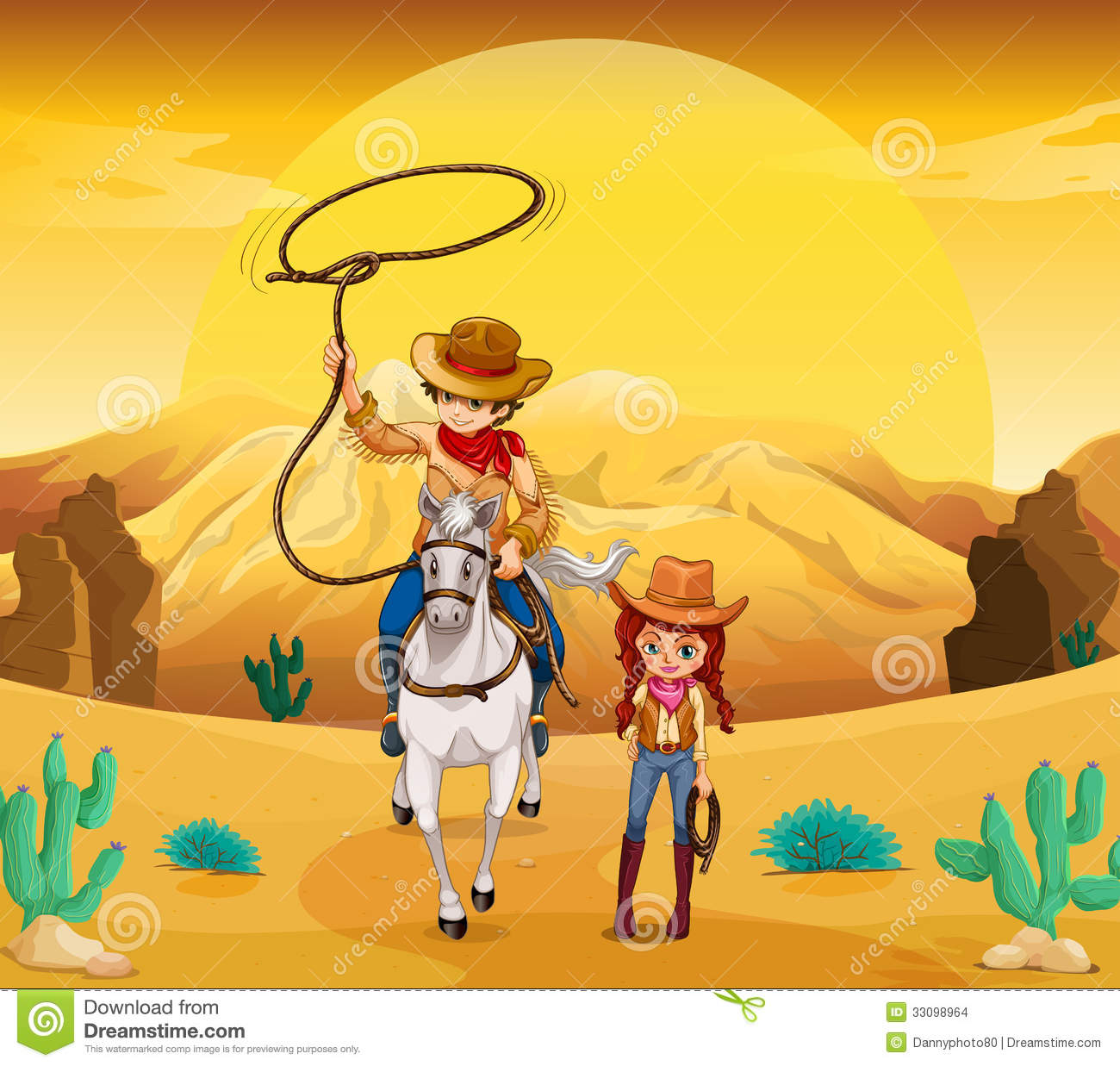 A Cowboy And A Cowgirl At The Desert Stock Vector