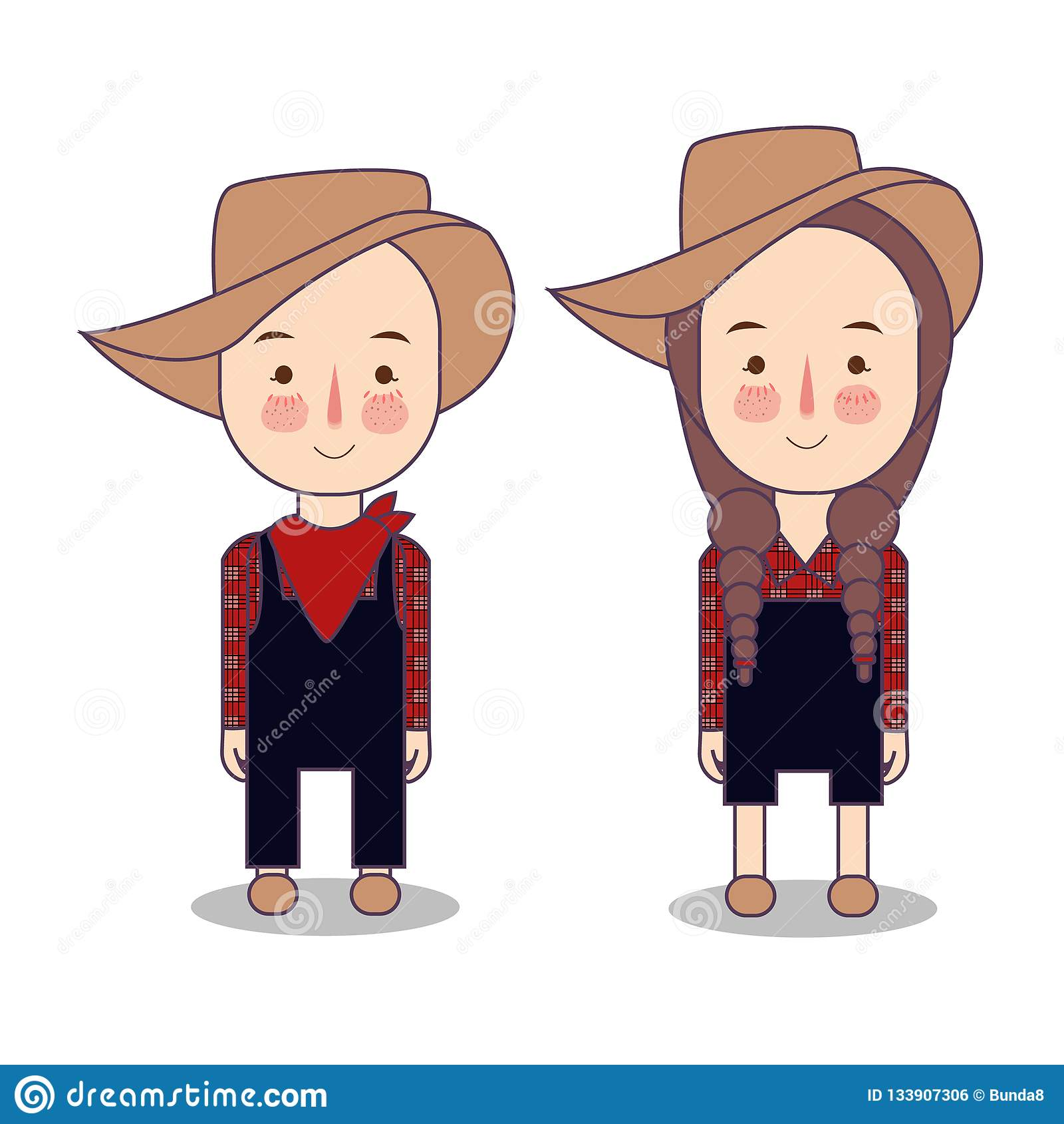 Cowboy And Cowgirl Farmer America Usa Funny Cartoon And