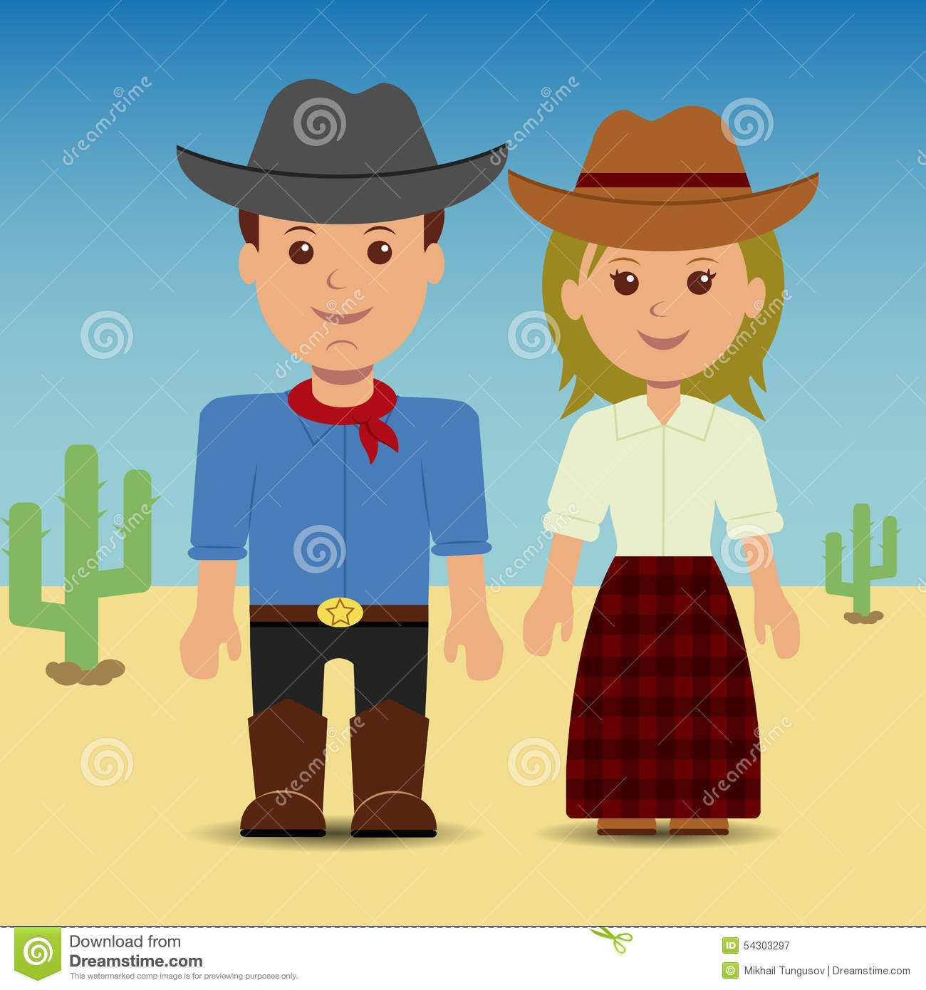 Cowboy And Cowgirl Stock Vector Illustration Of Cute