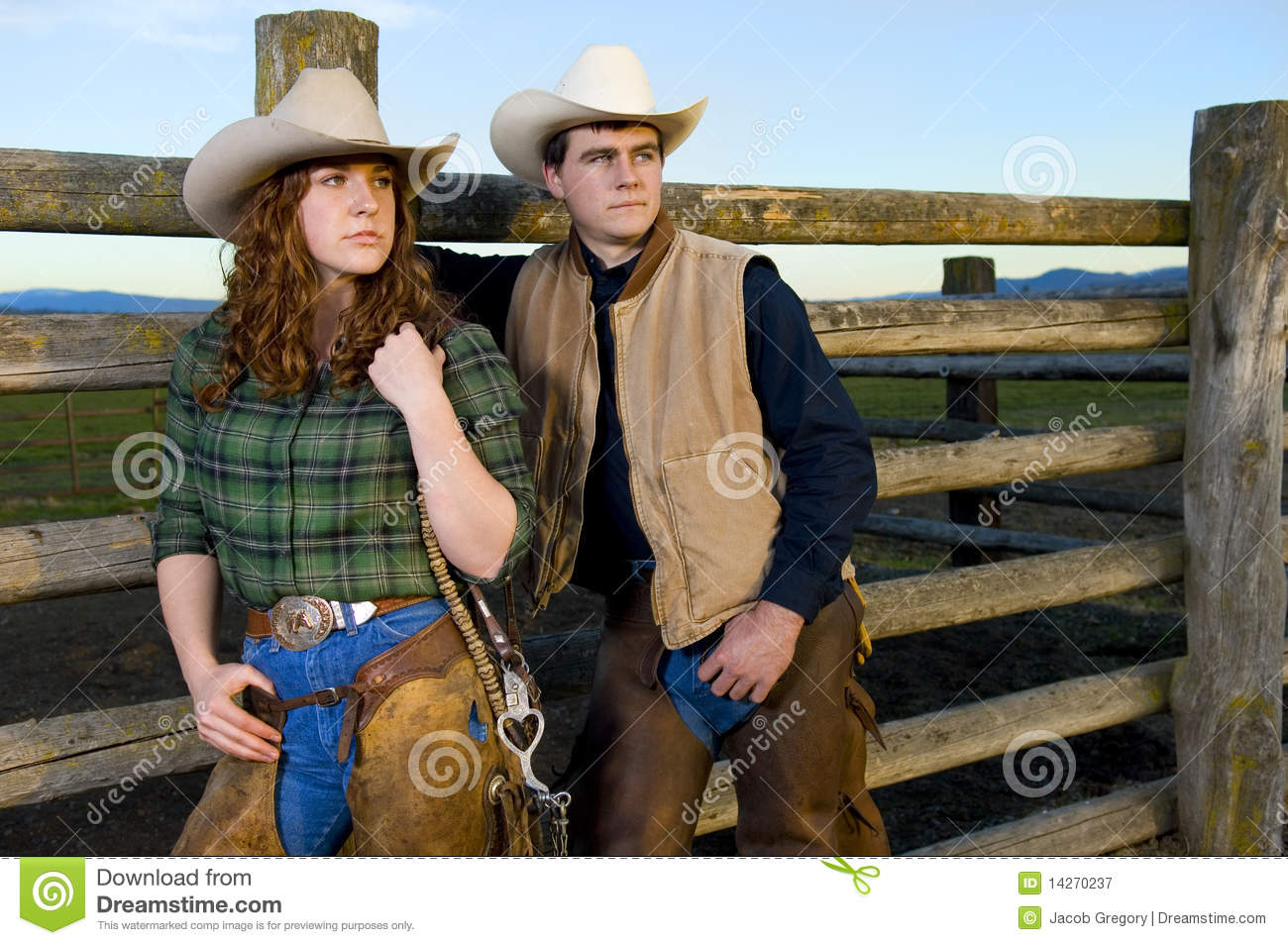 Cowgirl And Cowboy Couple Stock Image Image Of Fall