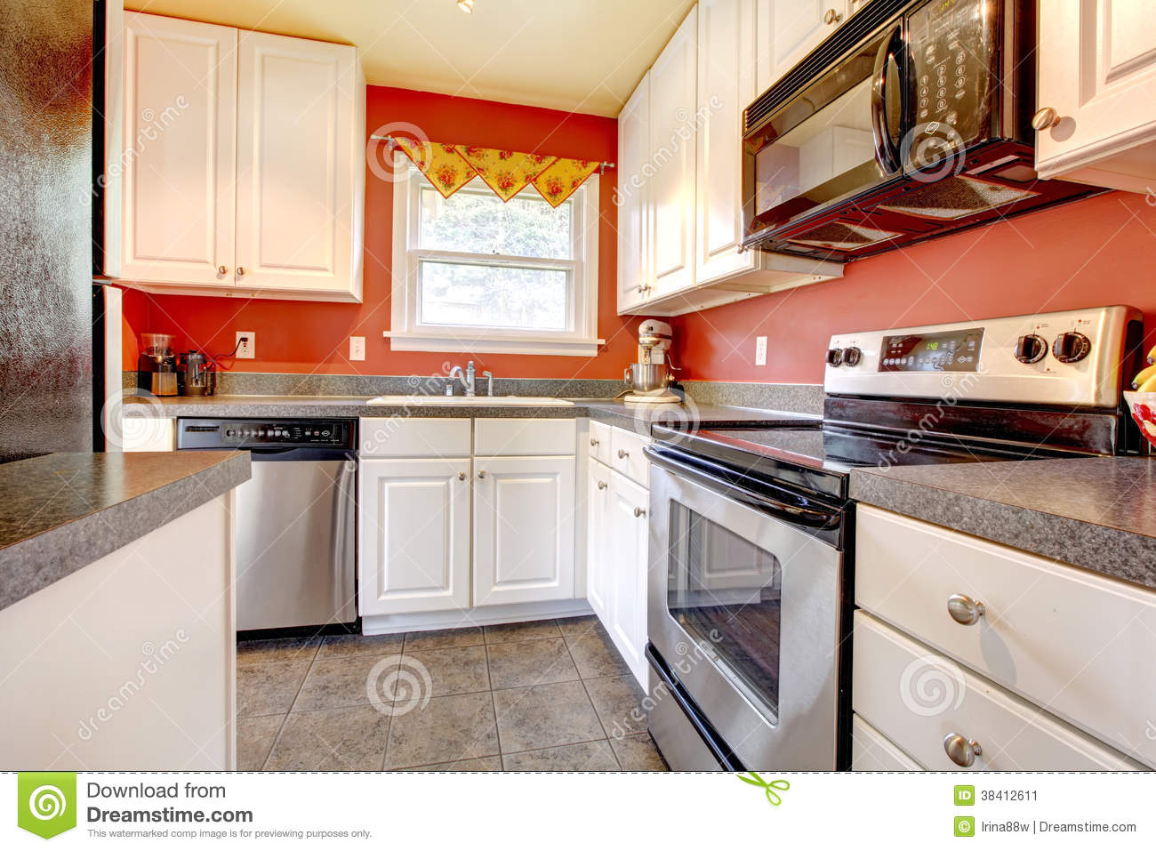 Cozy Kitchen Room With Red Wall And White Cabinets Stock Image Image Of Home American 38412611