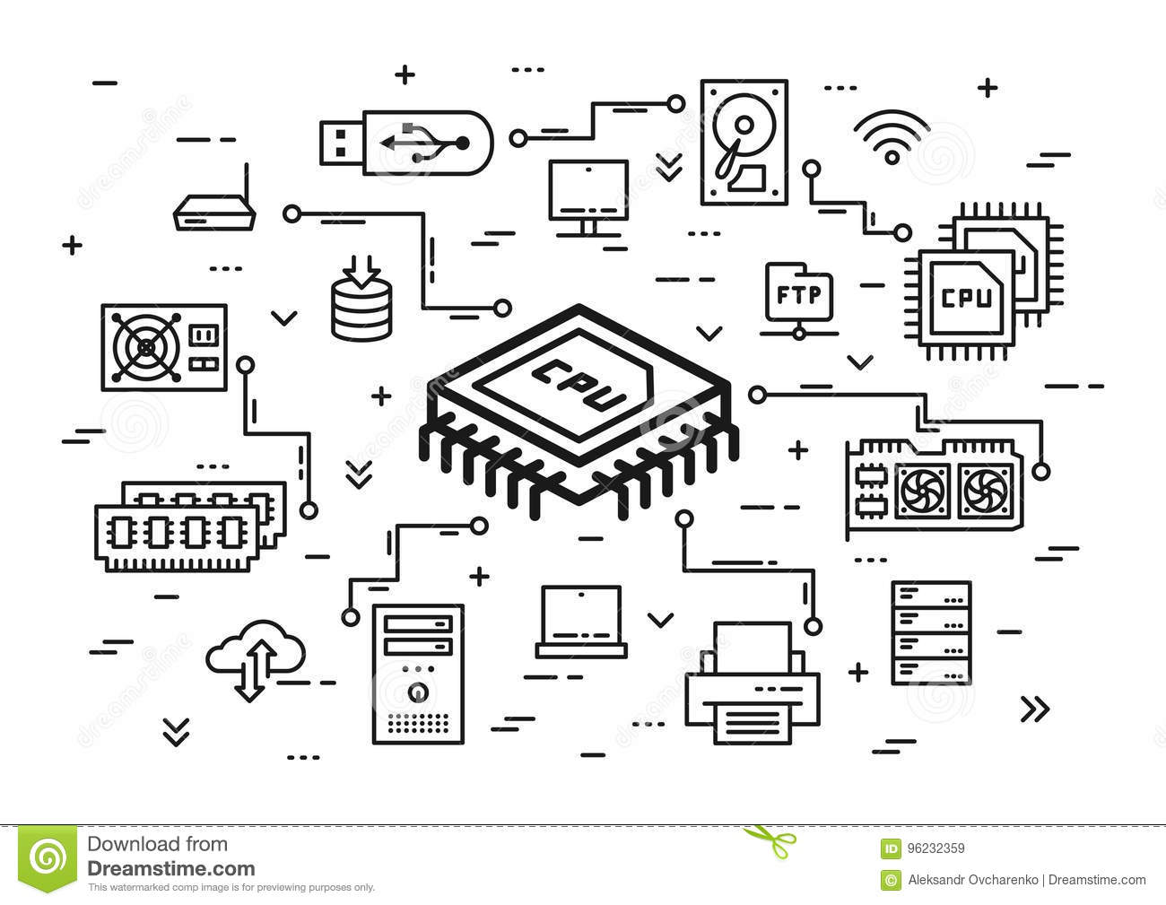 Cpu Chip And Computer Components Vector Illustration Stock