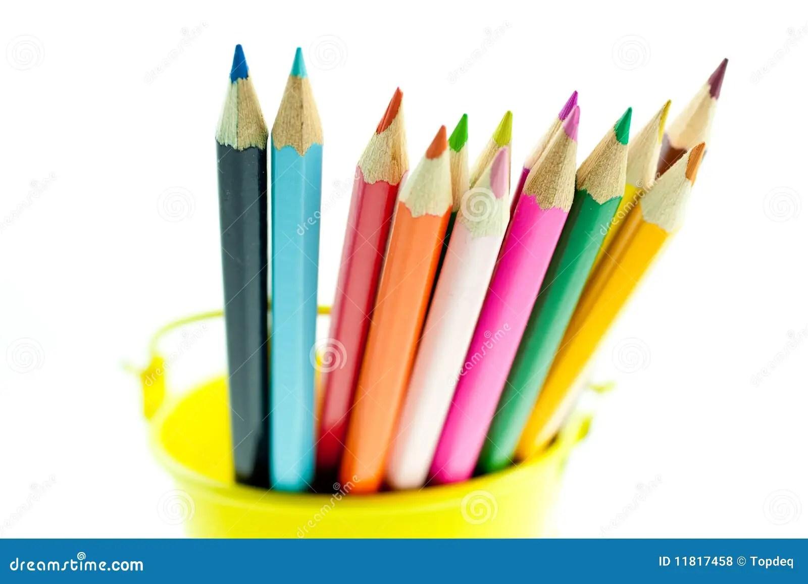 Crayons In Yellow Bucket Stock Photo Image Of Orange