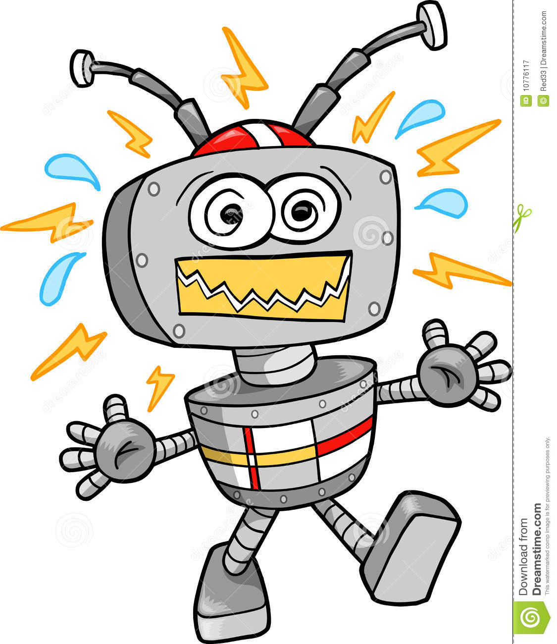crazy robot vector illustration royalty free stock photography image