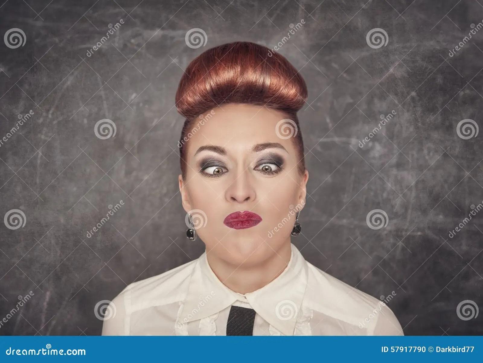 Crazy Teacher With Eyes Crossed Stock Photo