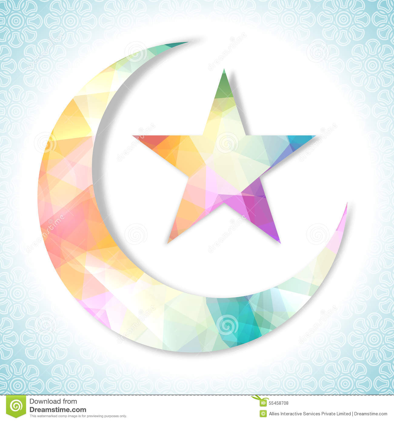 Creative Colorful Moon And Star For Eid Celebration Stock
