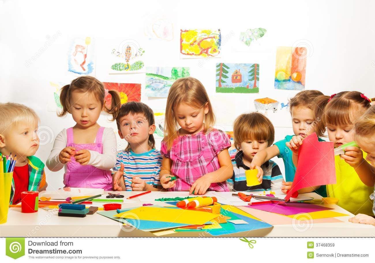 Creative Kids Class Stock Image Image Of Drawing