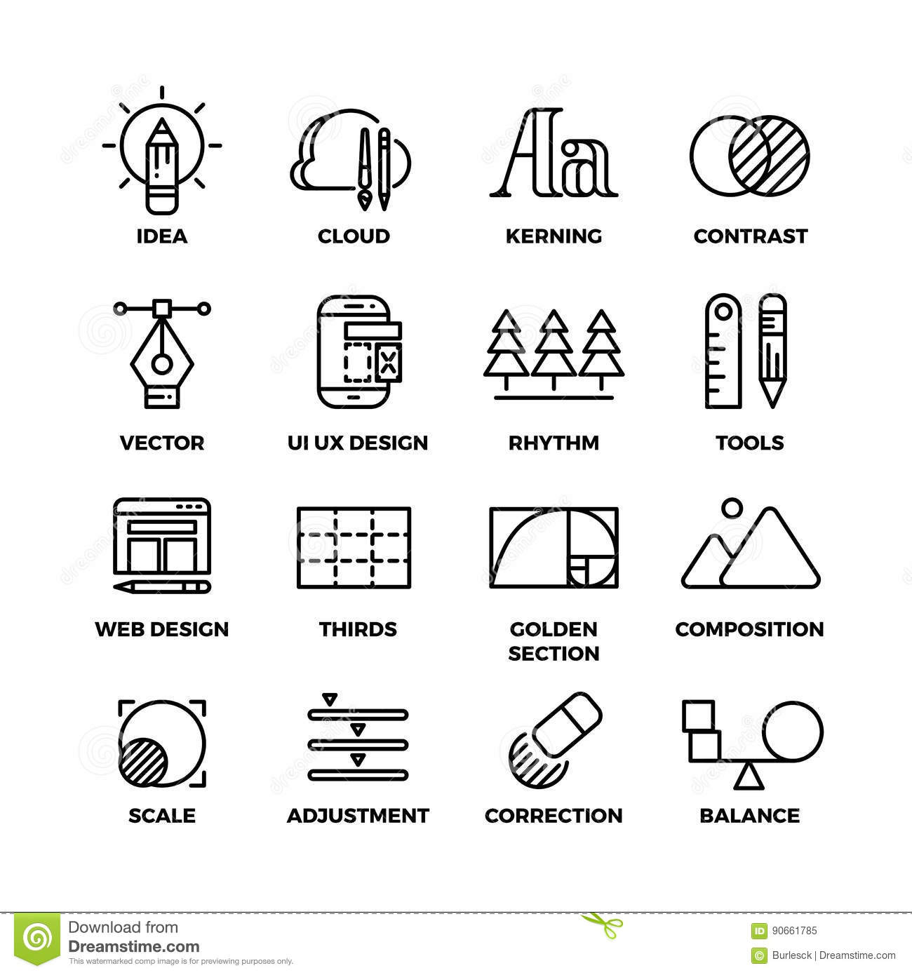 Creative Process And Design Sketch Tools Outline Vector
