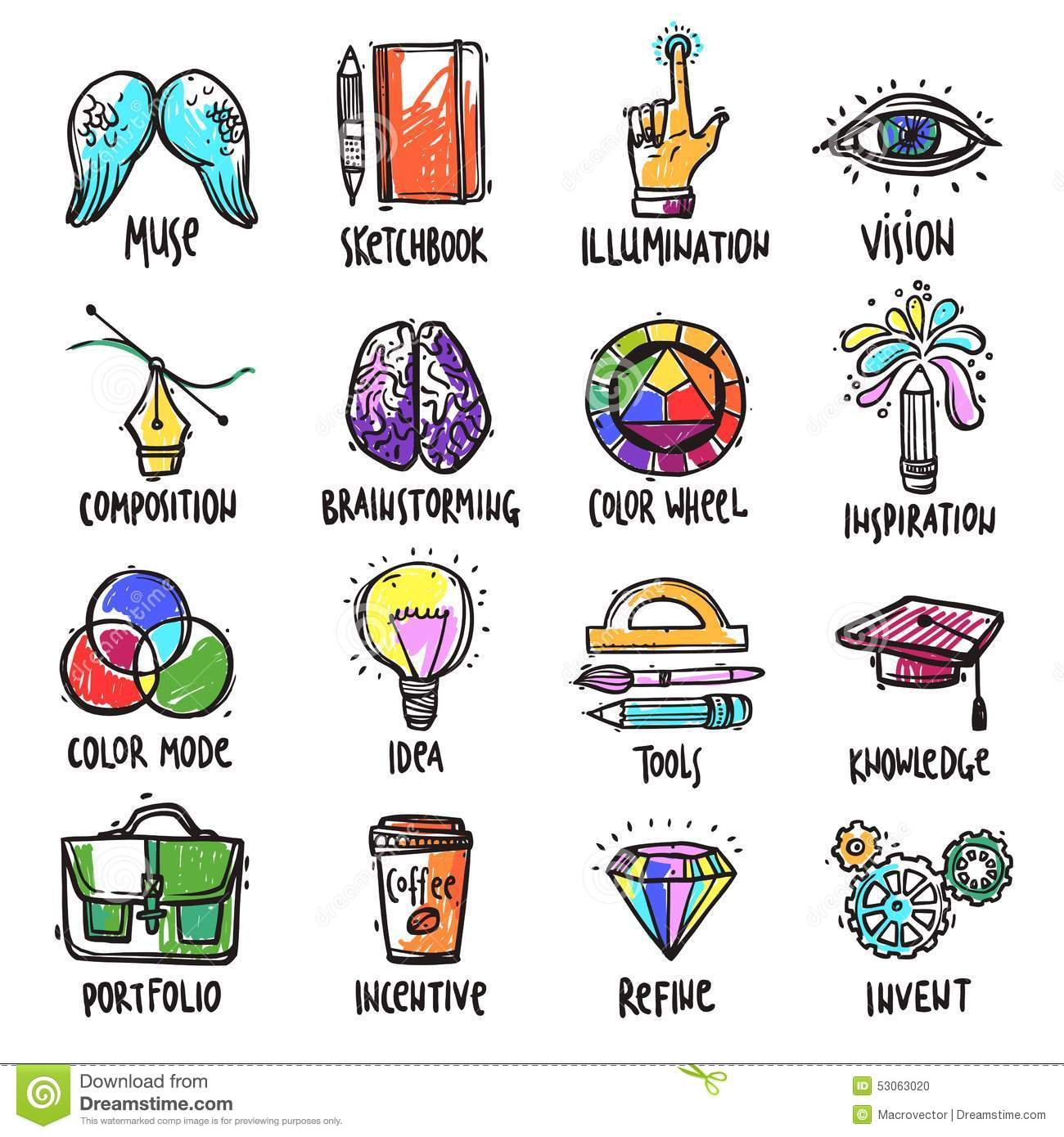 Creative Process Icons Set Stock Vector Illustration Of