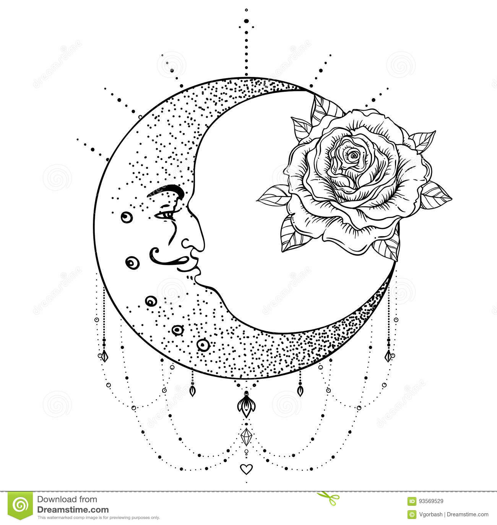Crescent Moon Rose Flower Sacred Geometry Blackwork