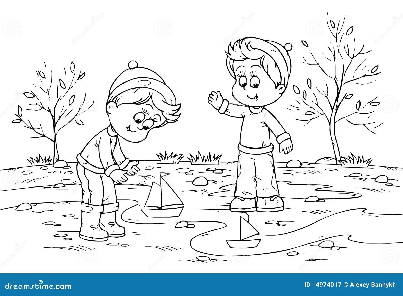 Criancas Que Jogam Com Navios Do Brinquedo Ilustracao