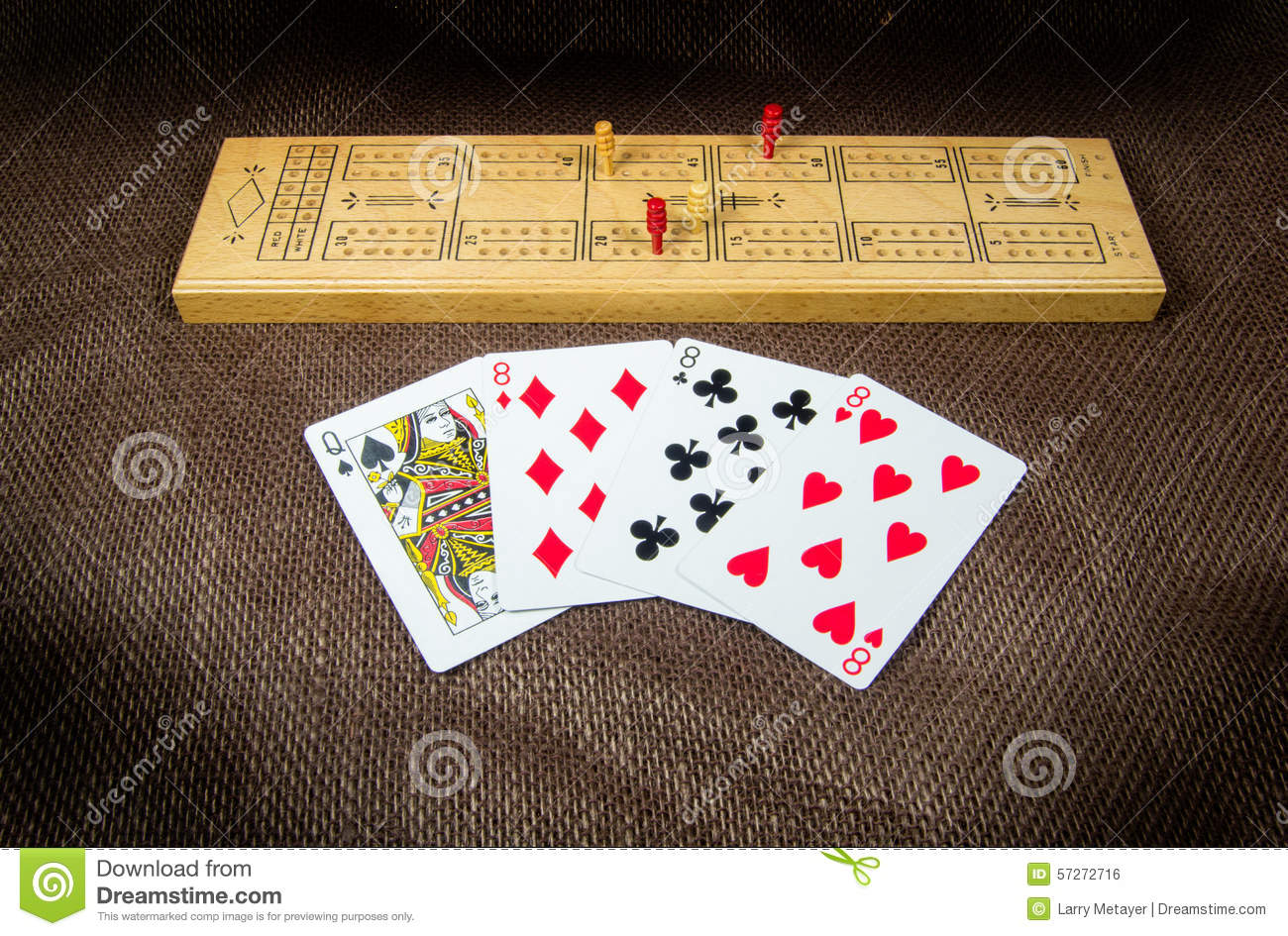 Cribbage Board And Cards Stock Photo