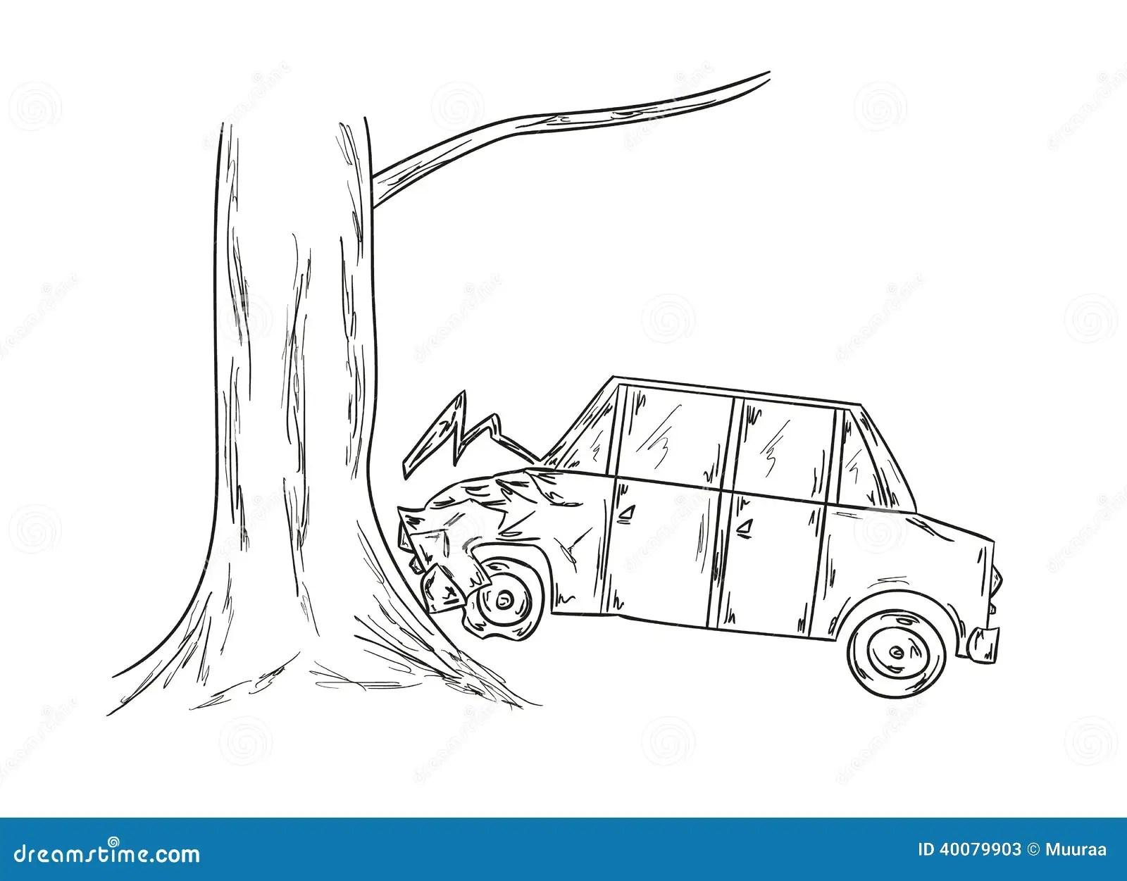 Croquis D Accident De Voiture Illustration De Vecteur