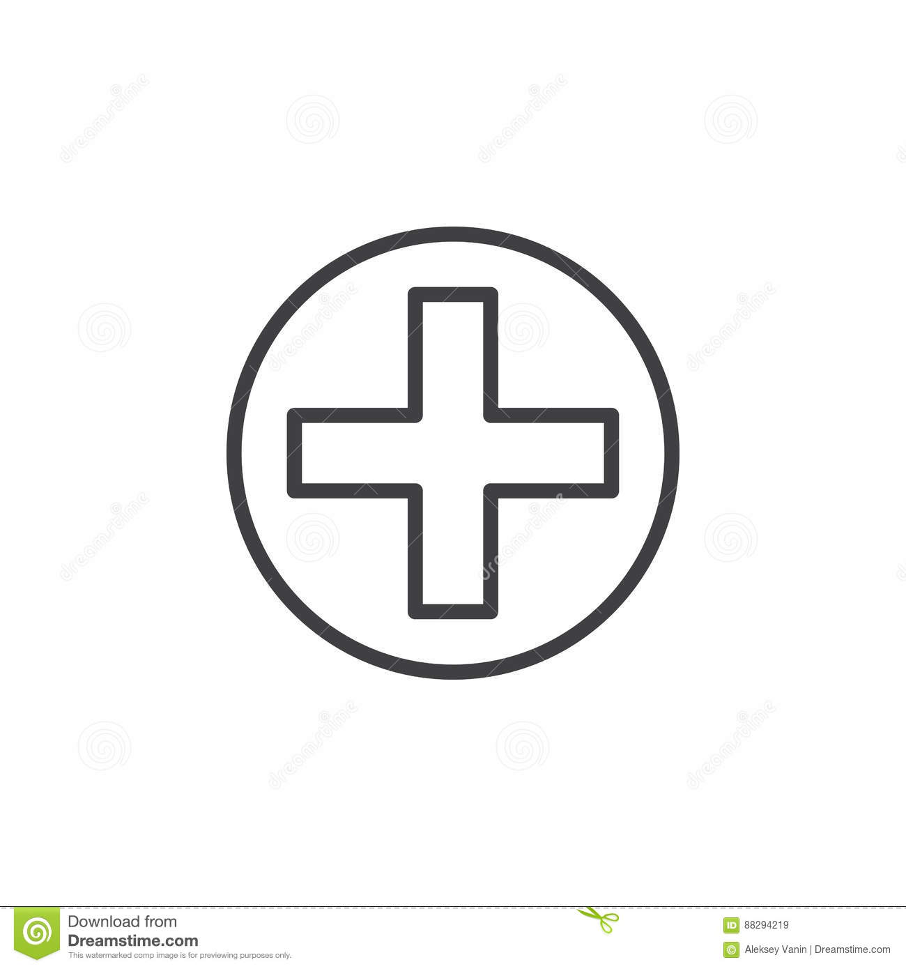 Cross In Circle Line Icon Outline Vector Sign Stock