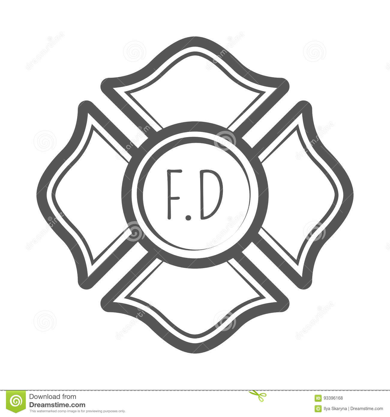 Cross Firefighter Vector Illustration In Monocrome Vintage