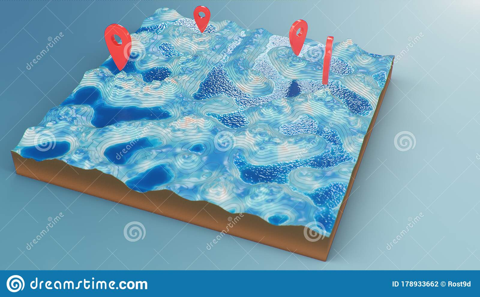 Cross Section 3d Map With Red Point Markers Contour Lines